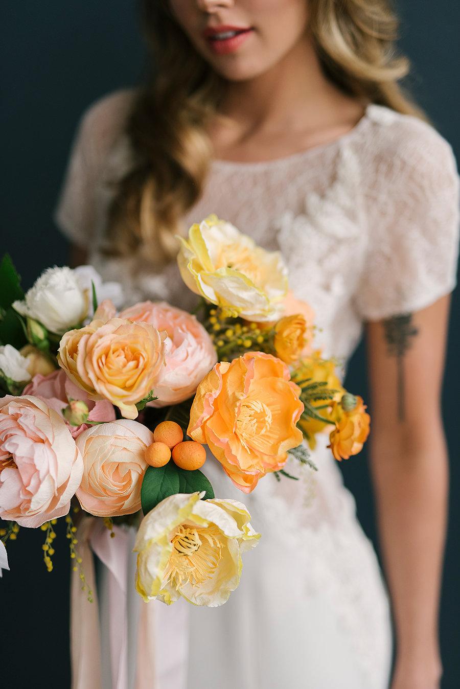 poppy bouquets ashlee brooke bride elegant