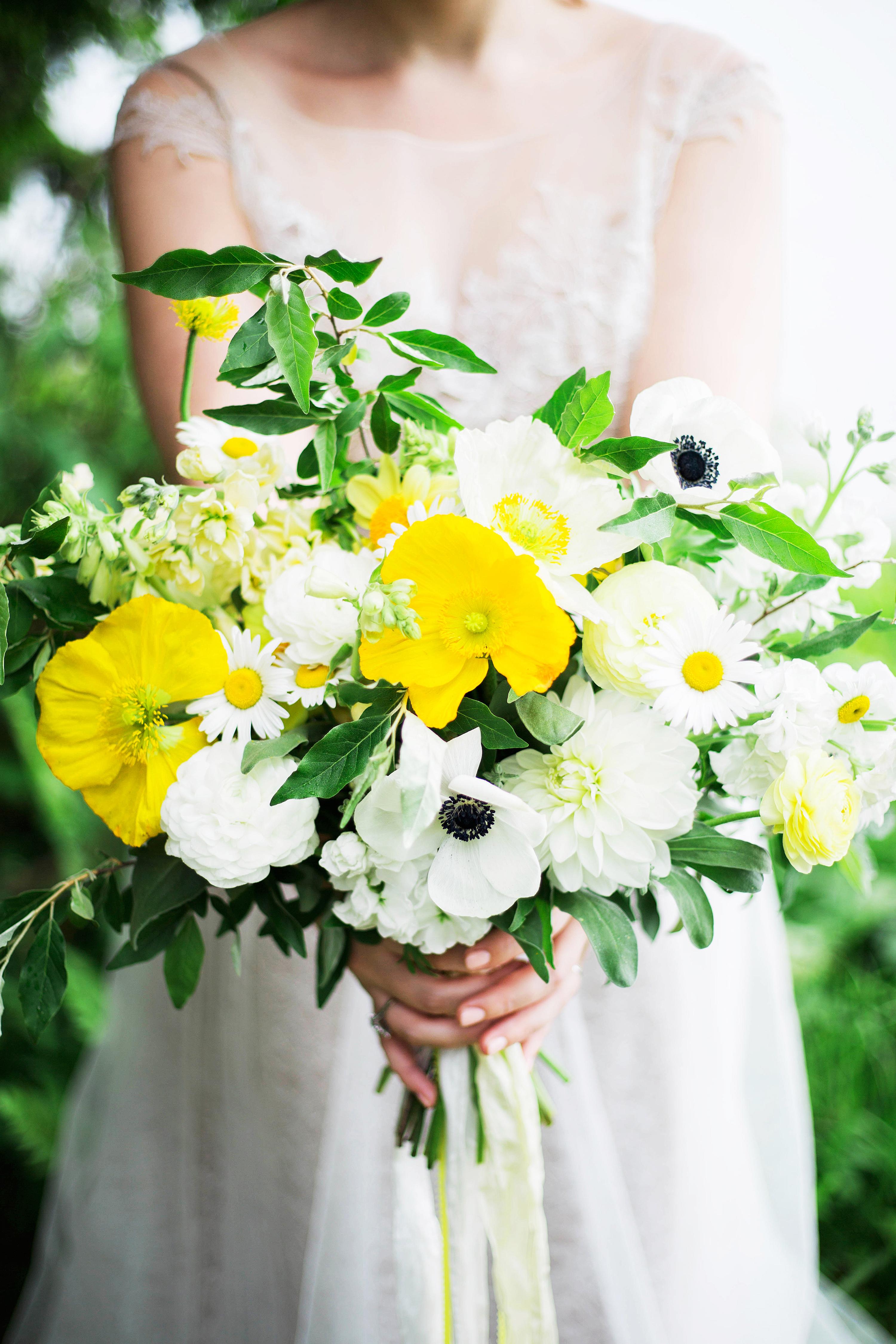 poppy bouquets julie k gray yellow