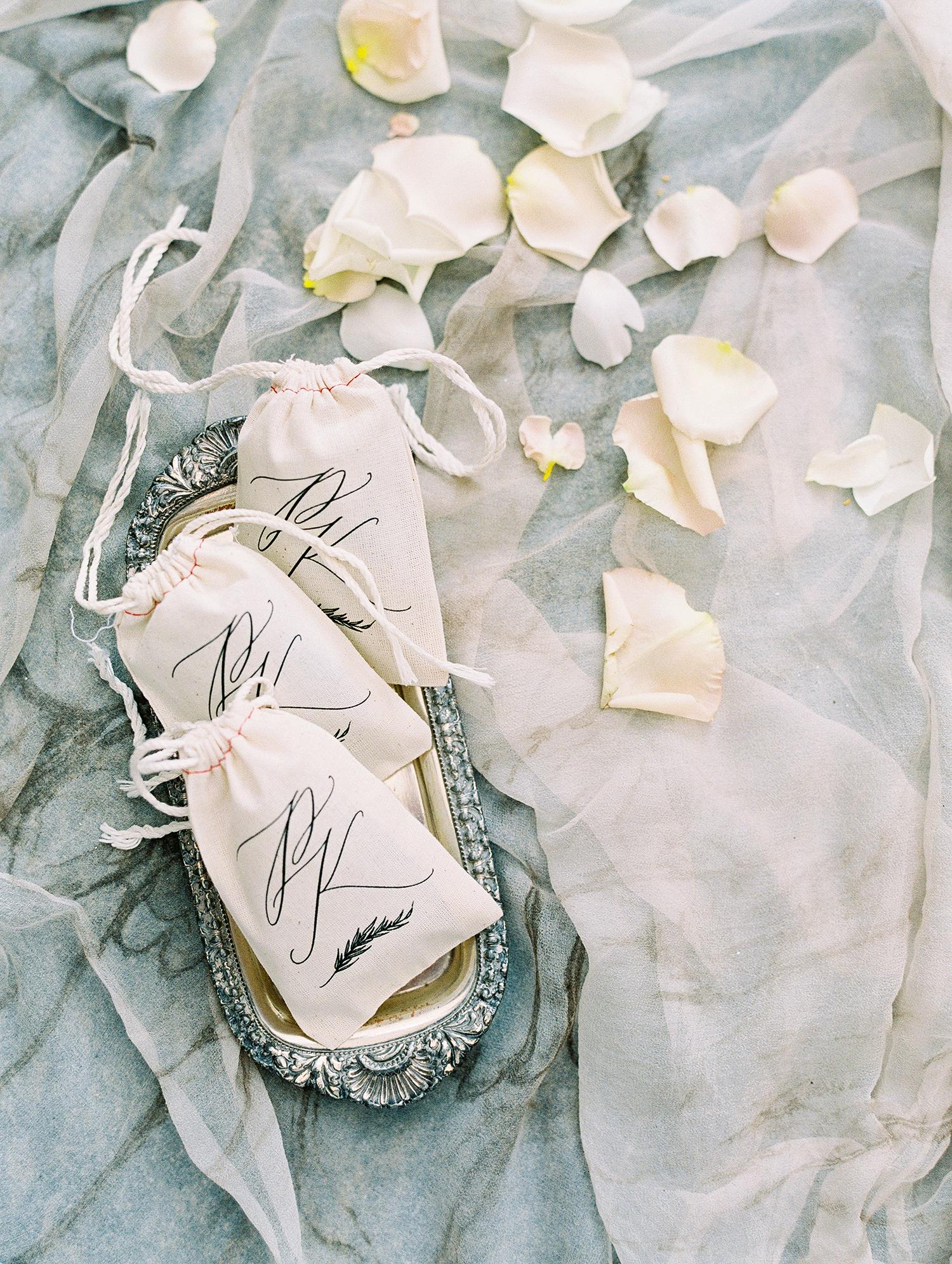kelly pete wedding monogrammed petal toss bags