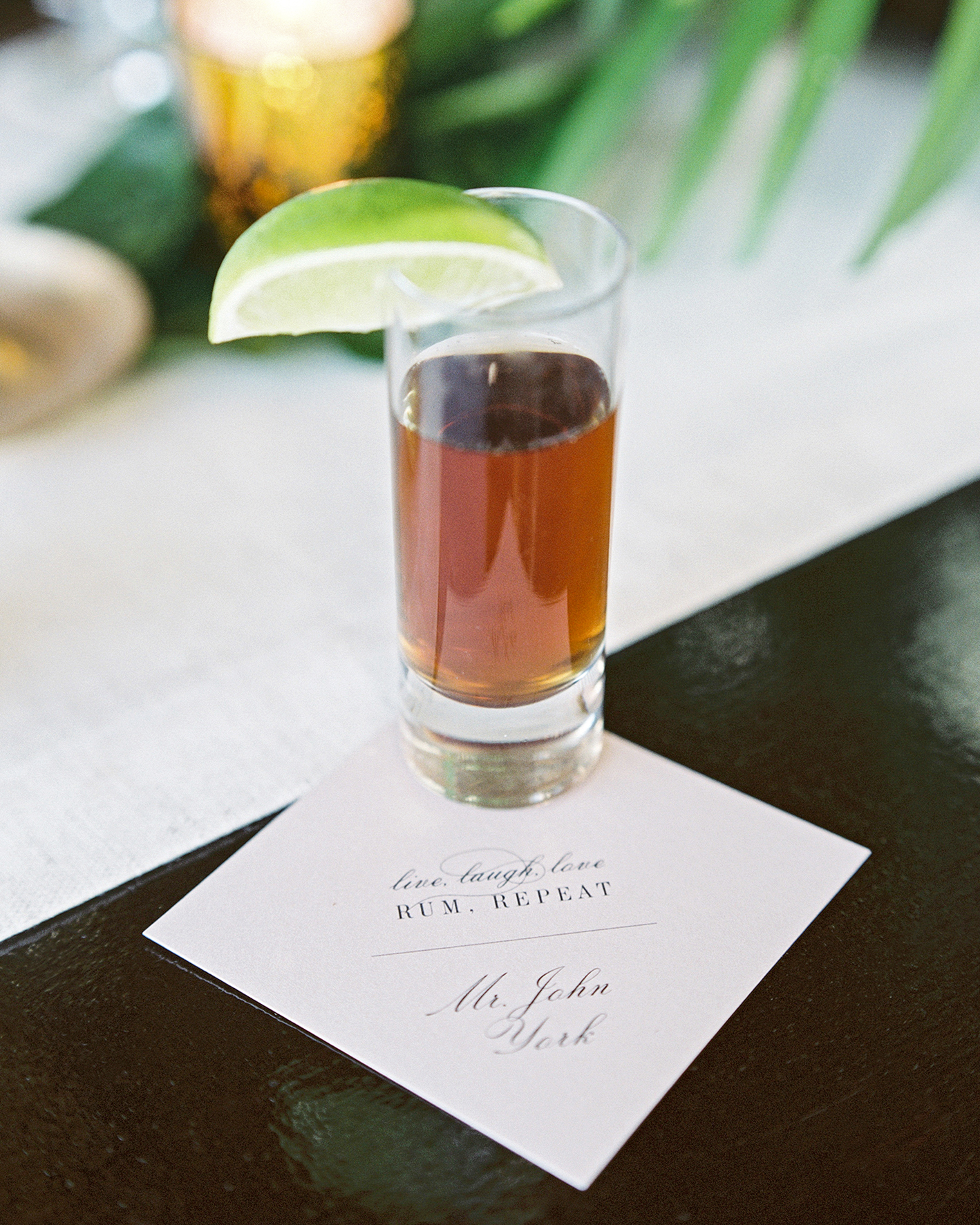 abbey jeffrey wedding shot of rum personalized napkin