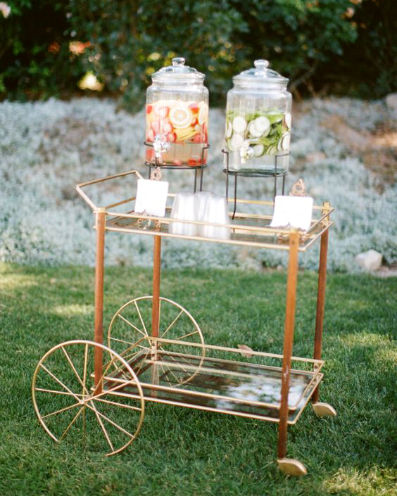 hydration stations non alcoholic lemonade stand gold bar cart