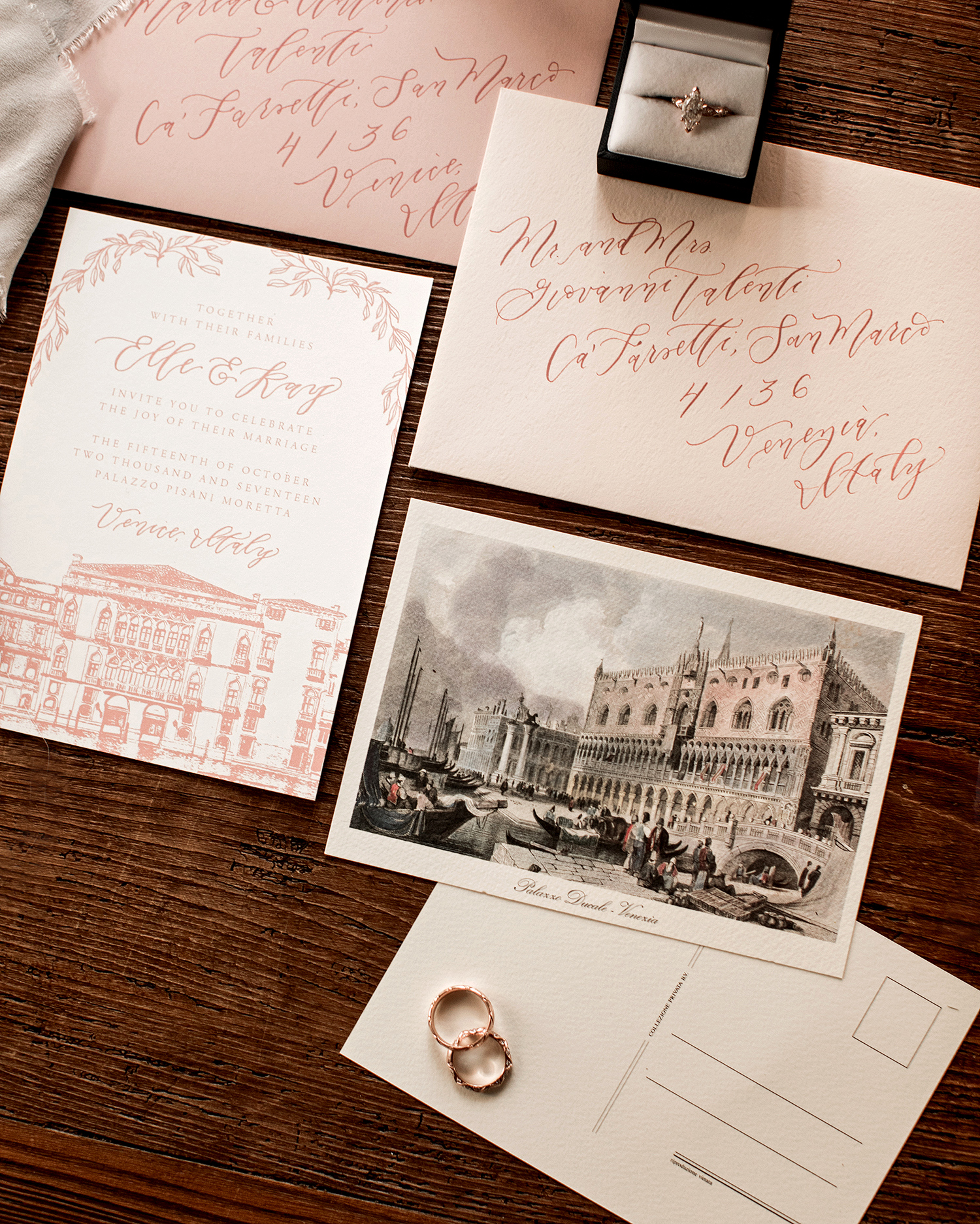 elle raymond venice wedding stationery