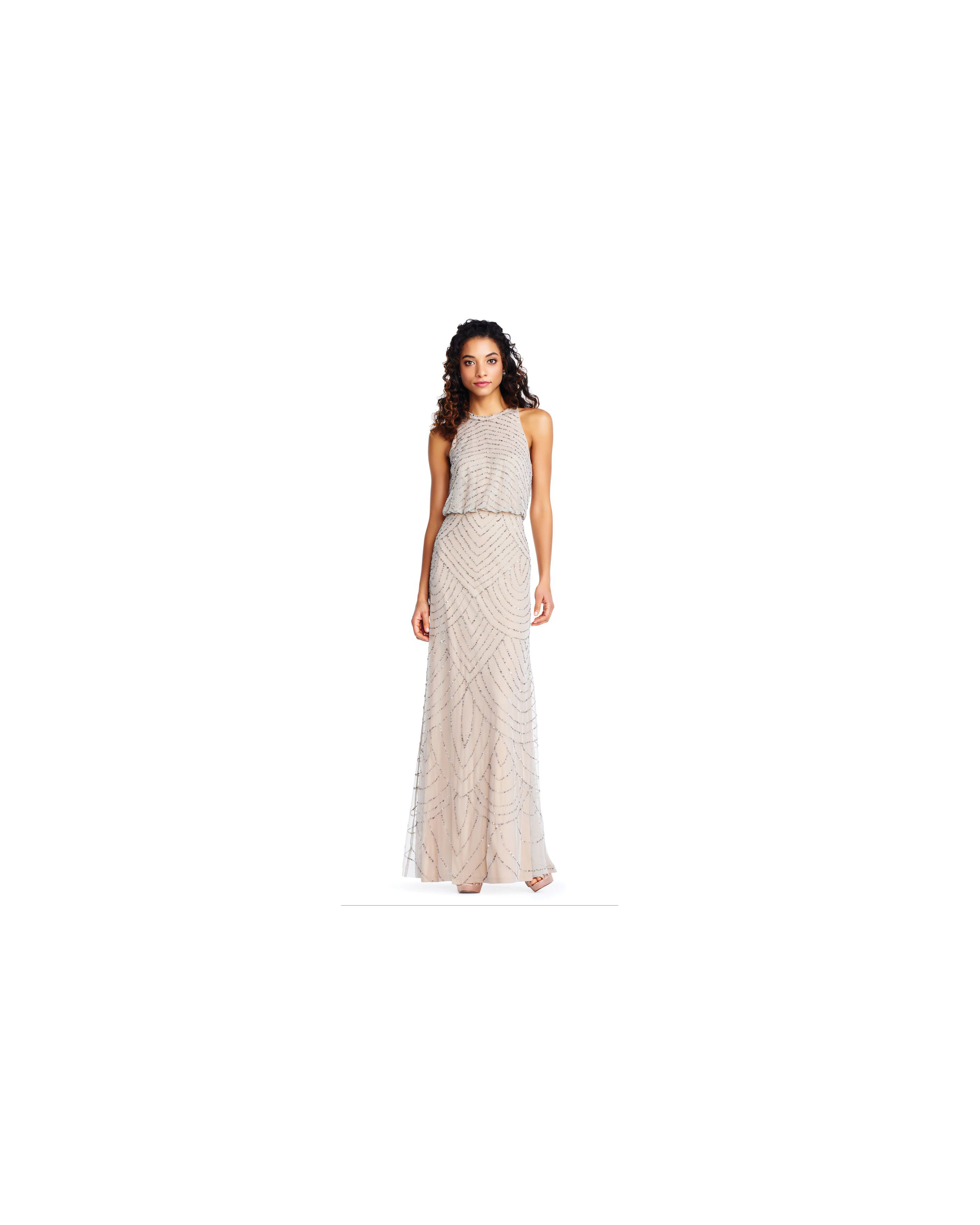 beige neutral bridesmaid dresses adrianna papell art deco halter