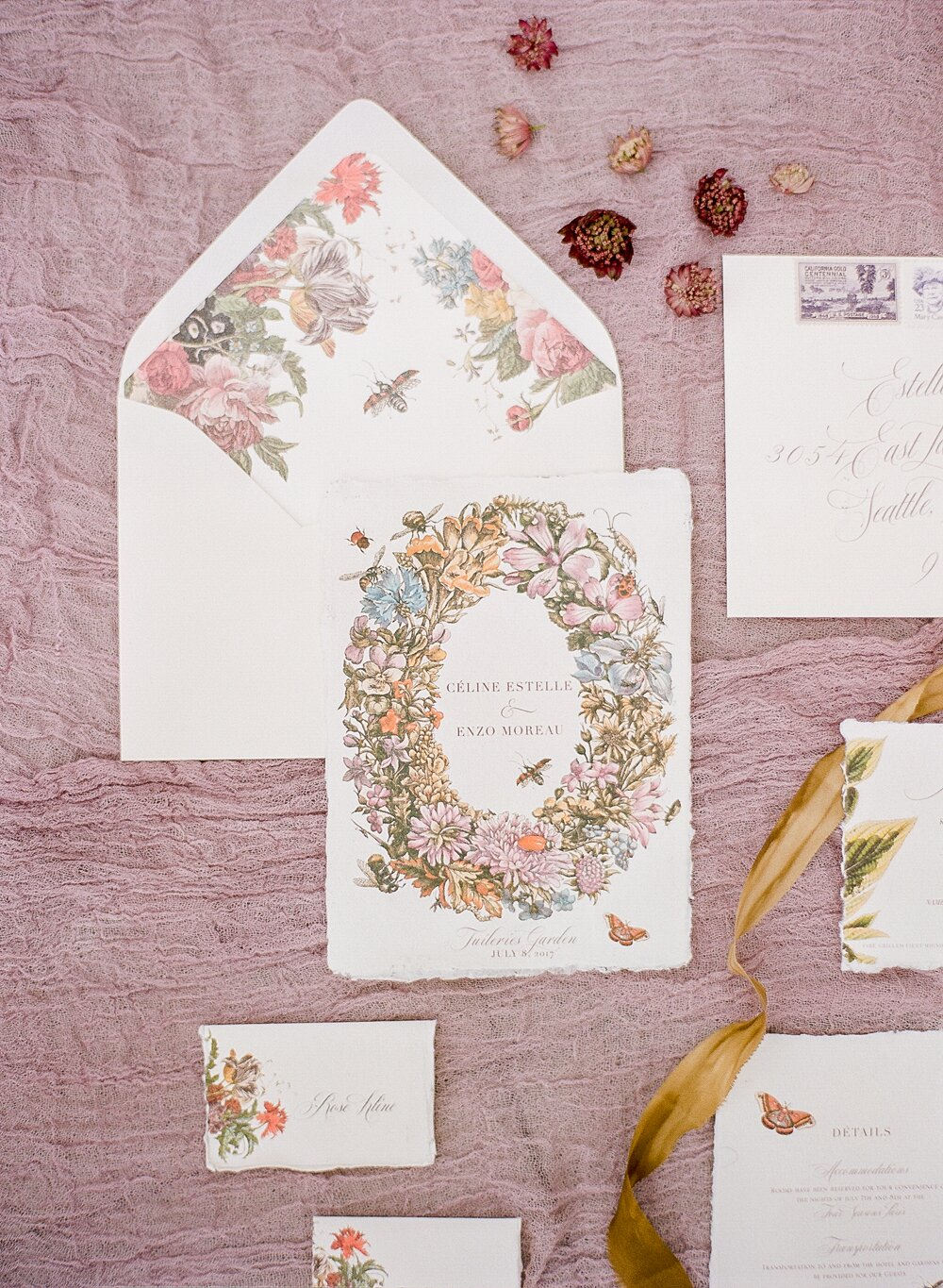 20 Pretty Envelope Liners That Dressed Up Wedding Invitation