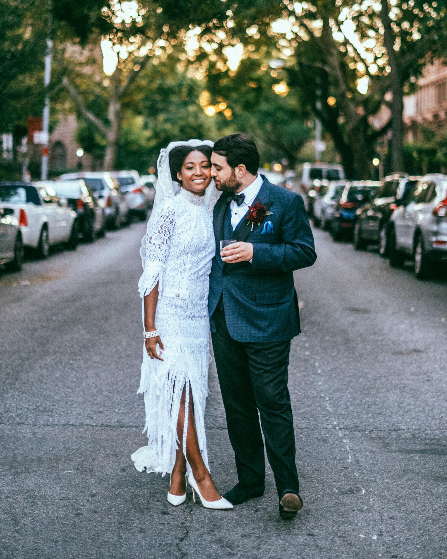 long sleeved wedding high neck dress