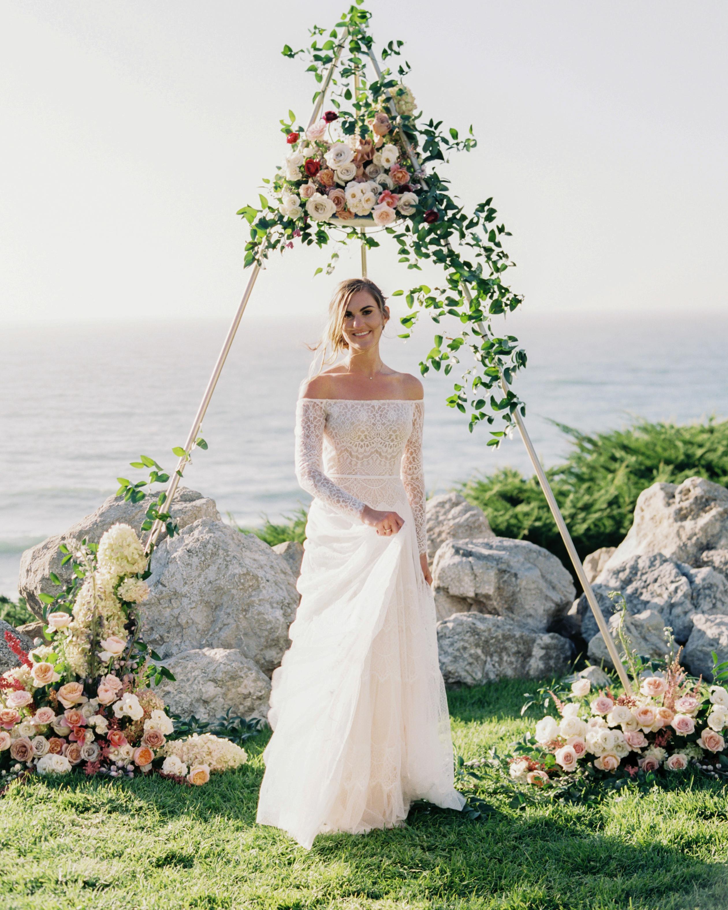 long sleeved wedding dress off the shoulder