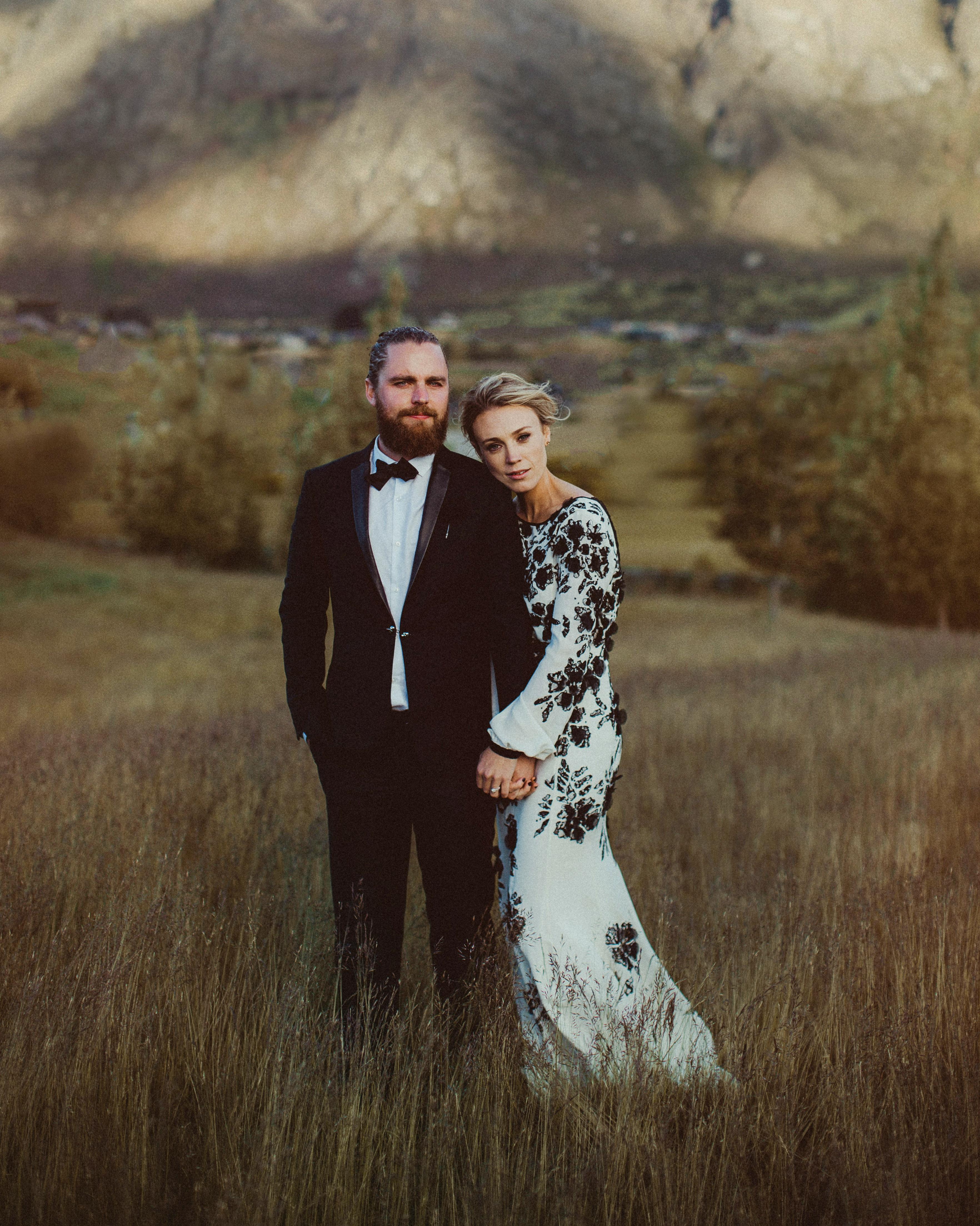 long sleeved wedding black floral dress