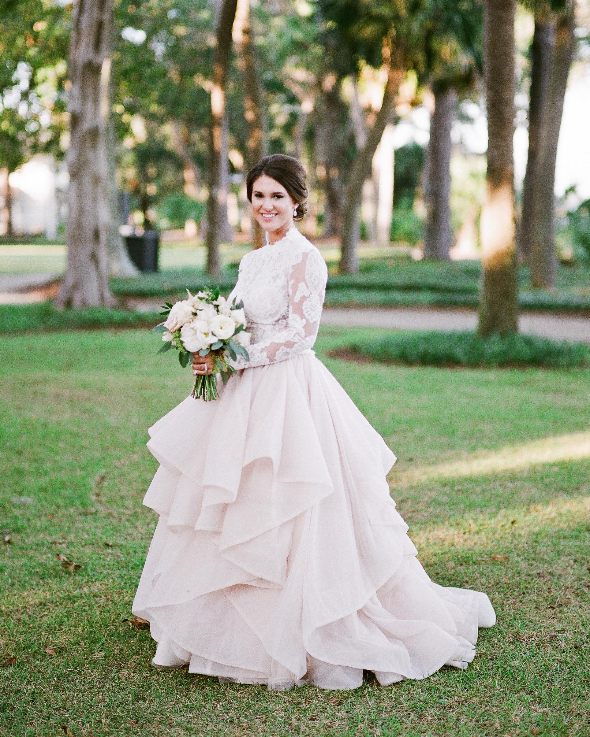 long sleeved wedding blush dress