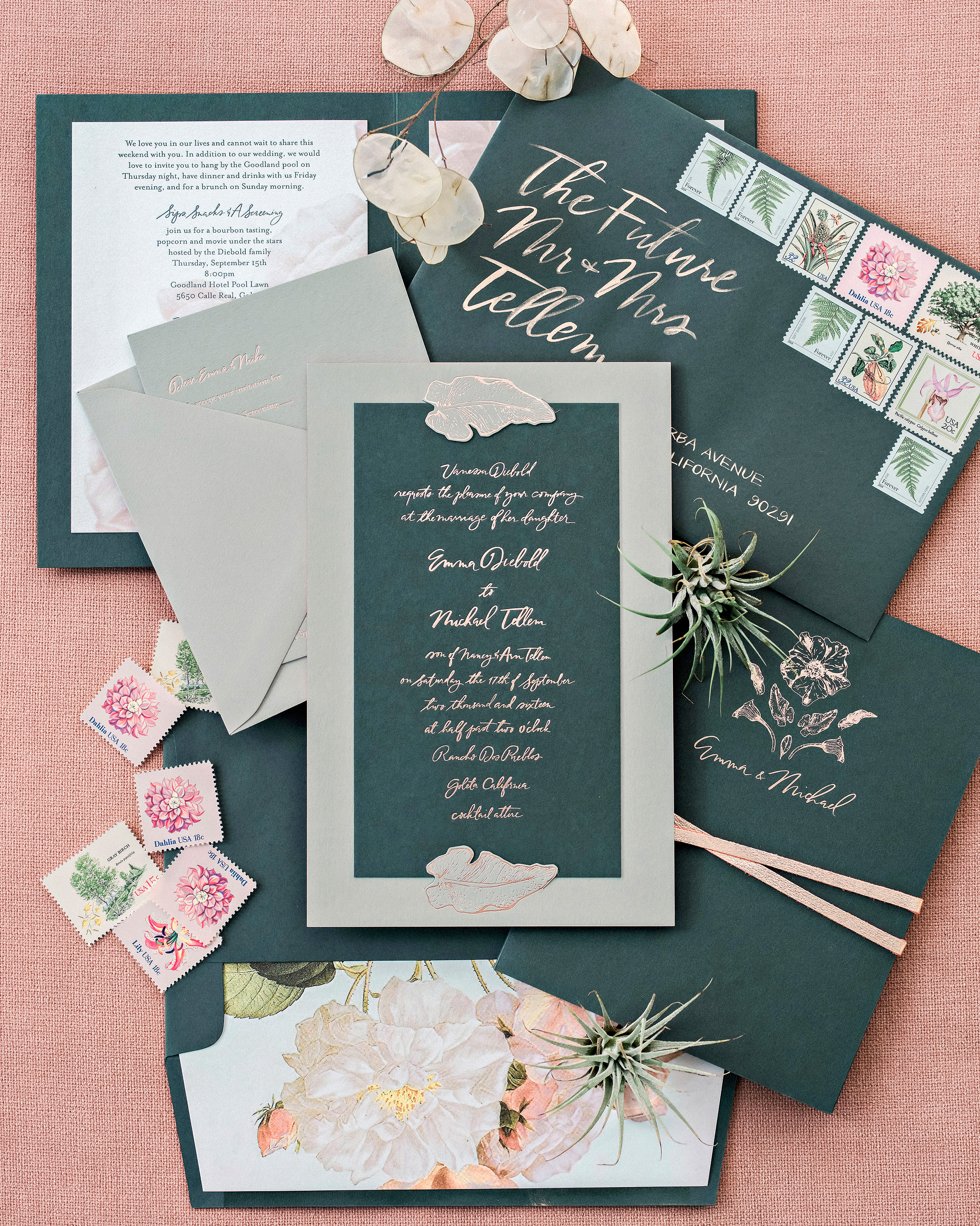 Emma mike California wedding Corbin gurkin invitations