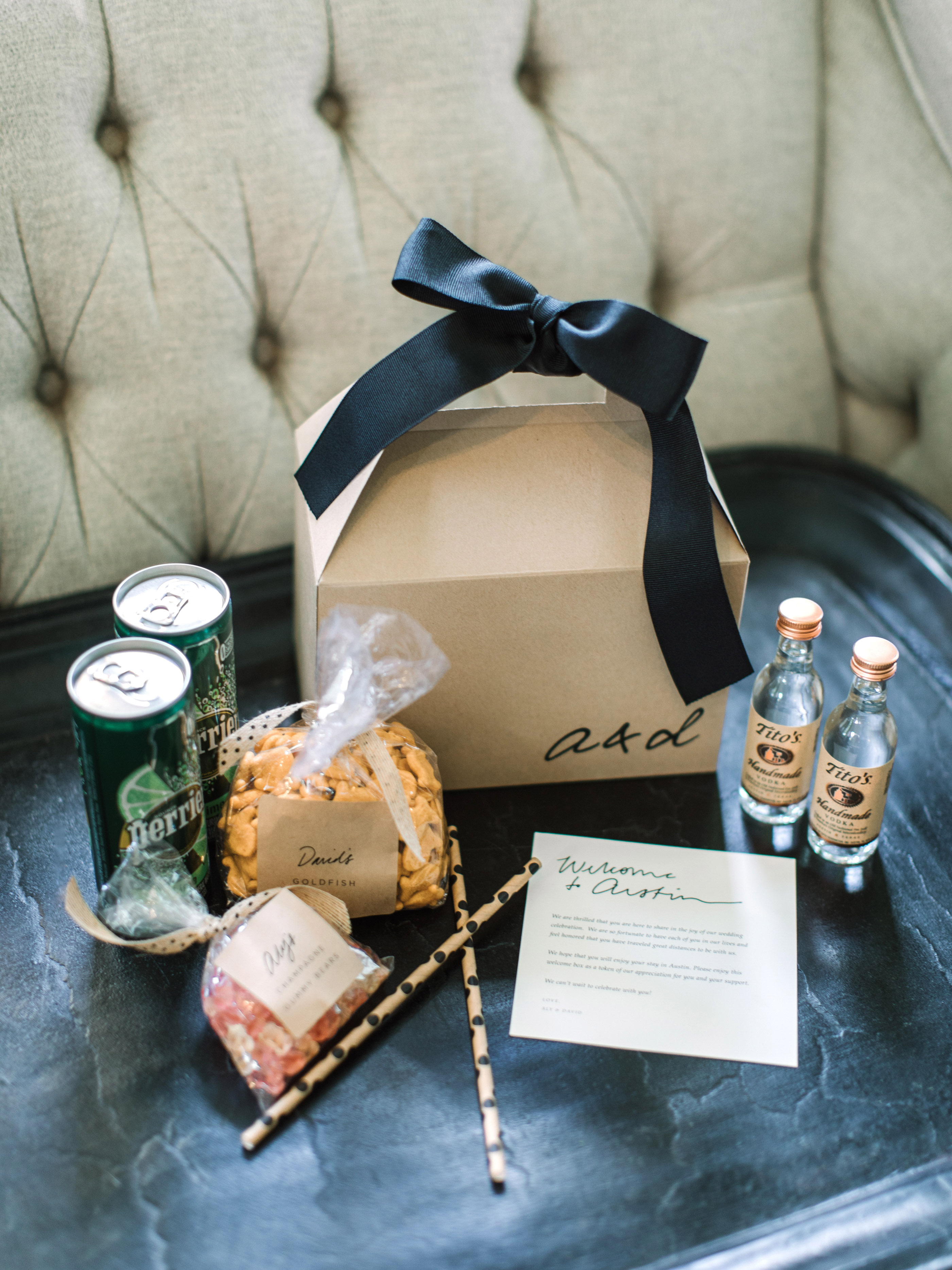 wedding welcome boxes titos goldfish perrier