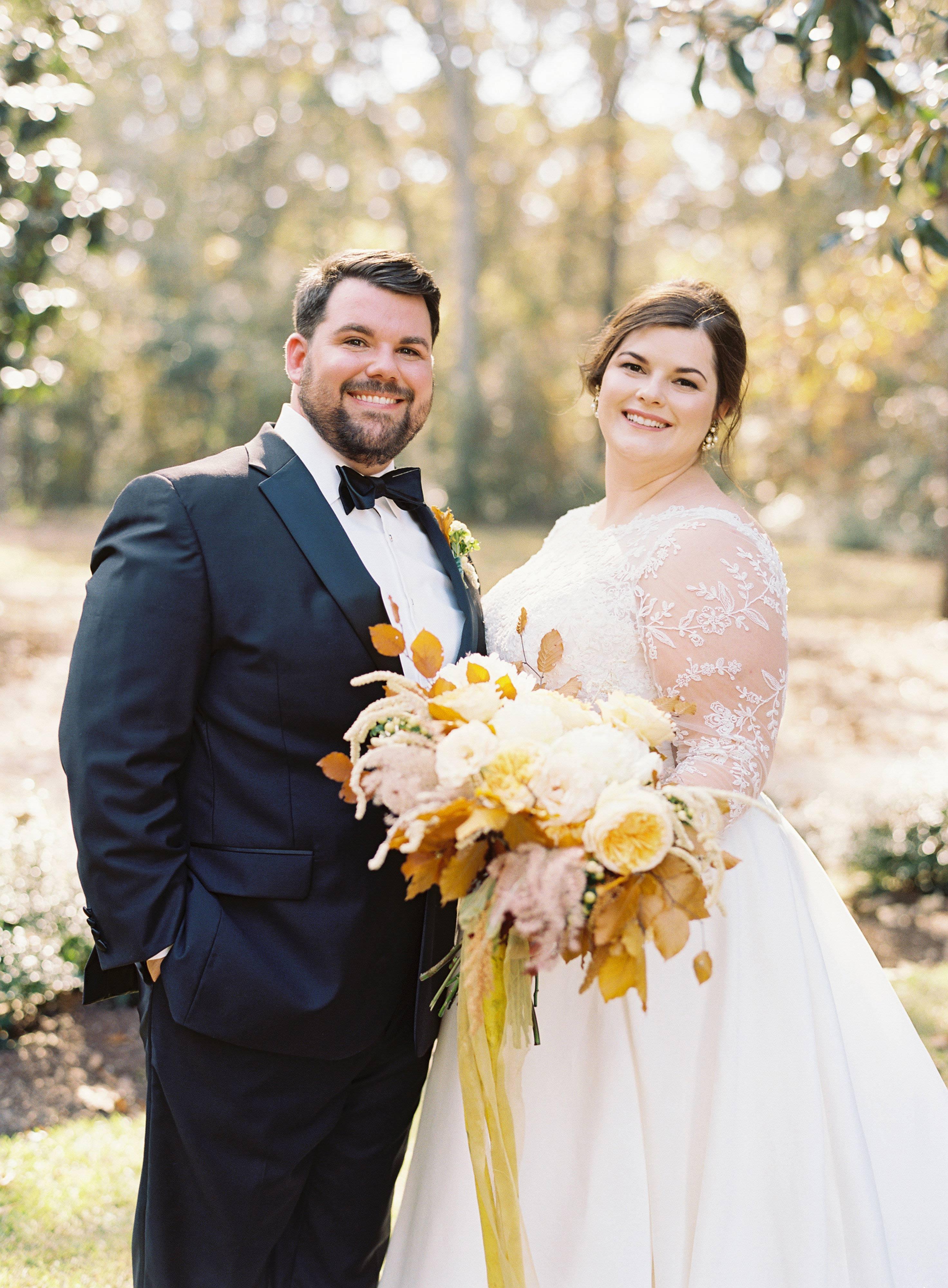 madeline brad wedding couple smile