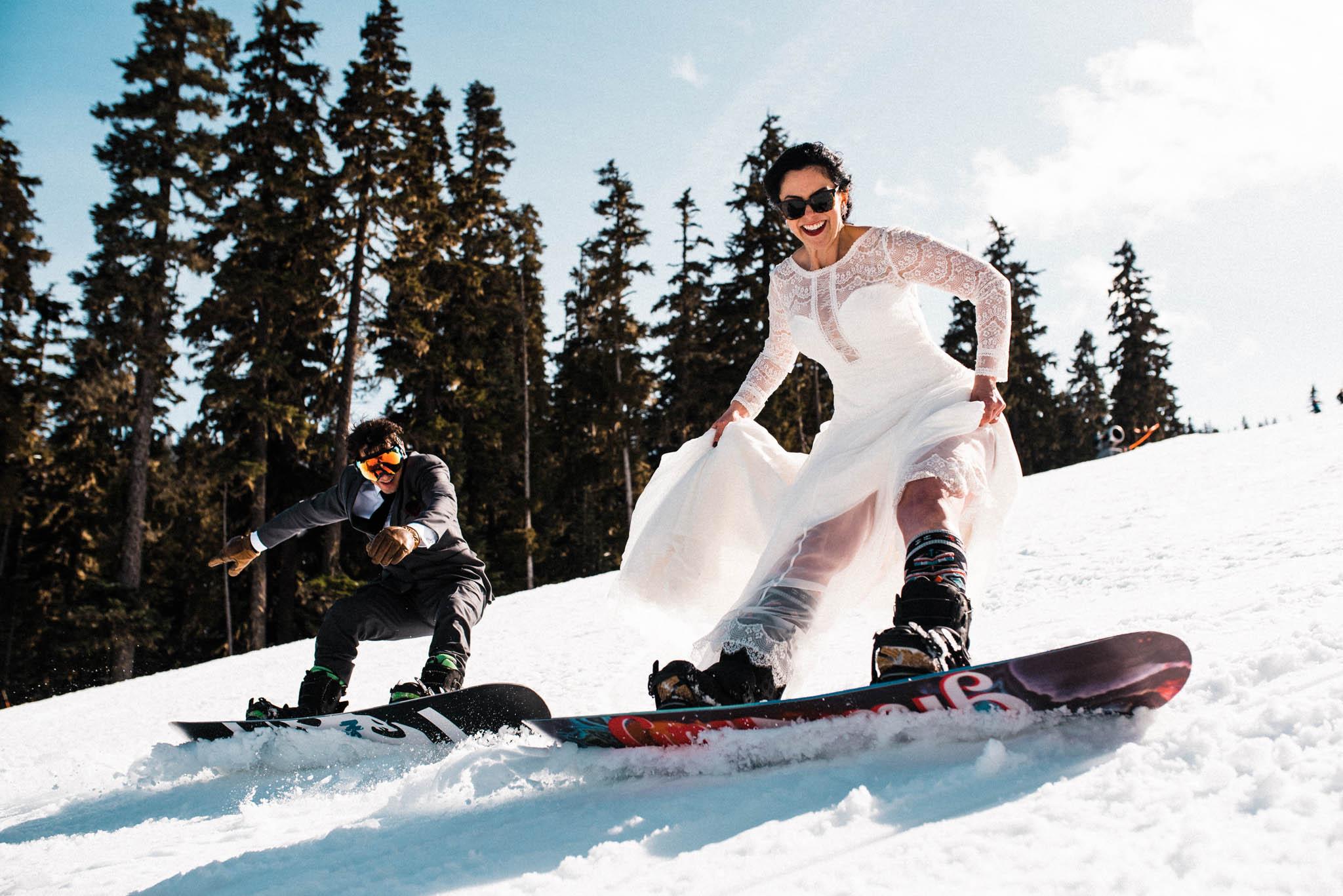 epic wedding photos the foxes snowboarding