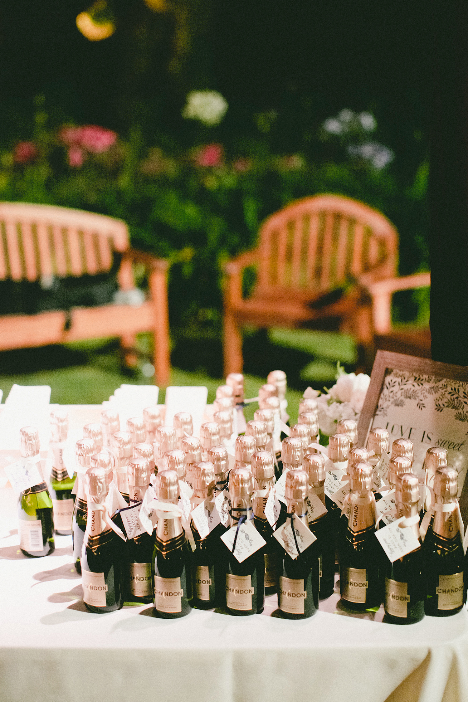 alcohol escort cards single-serving chandon bottles