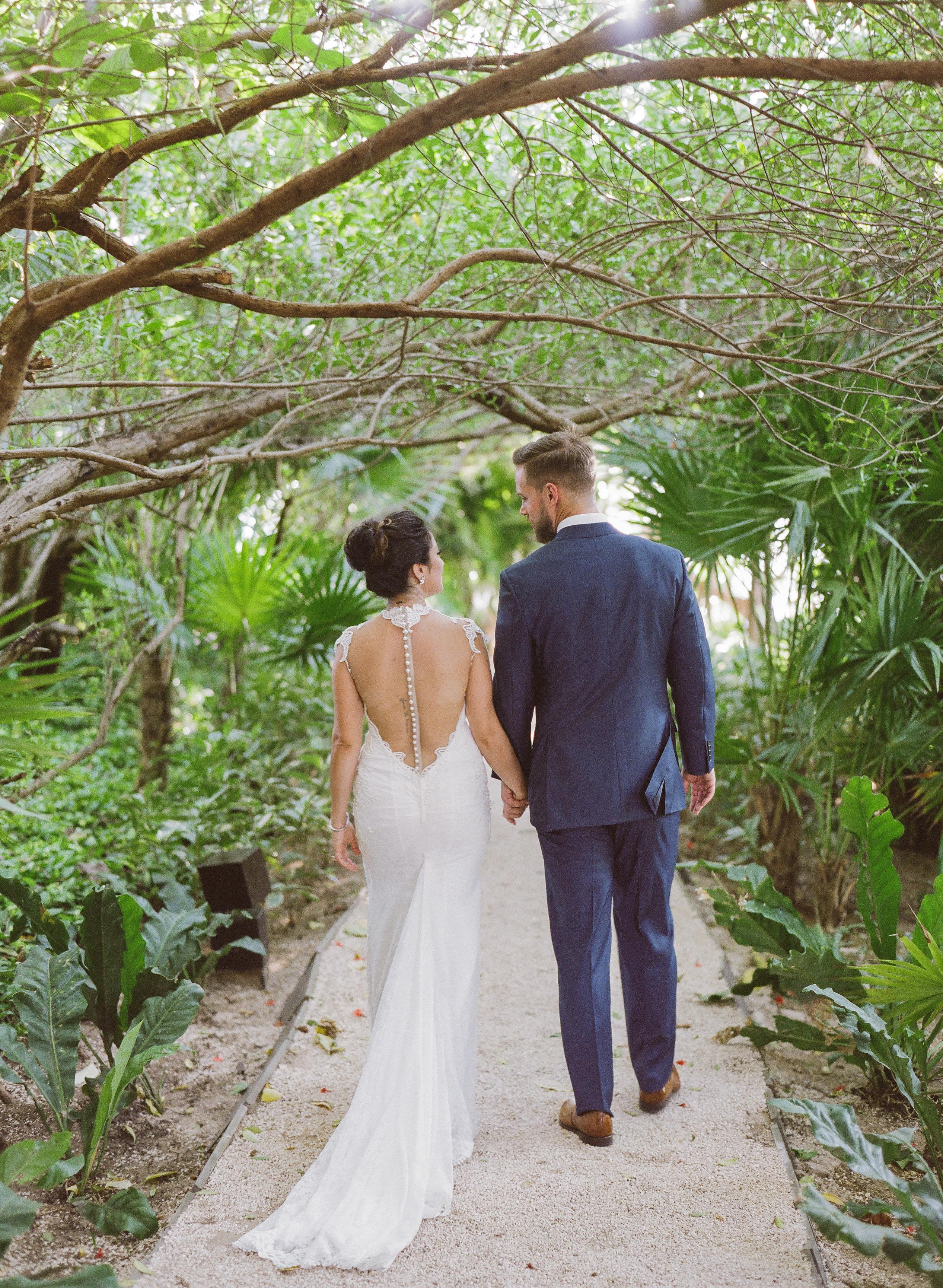 vicky james mexico wedding bride groom back dress