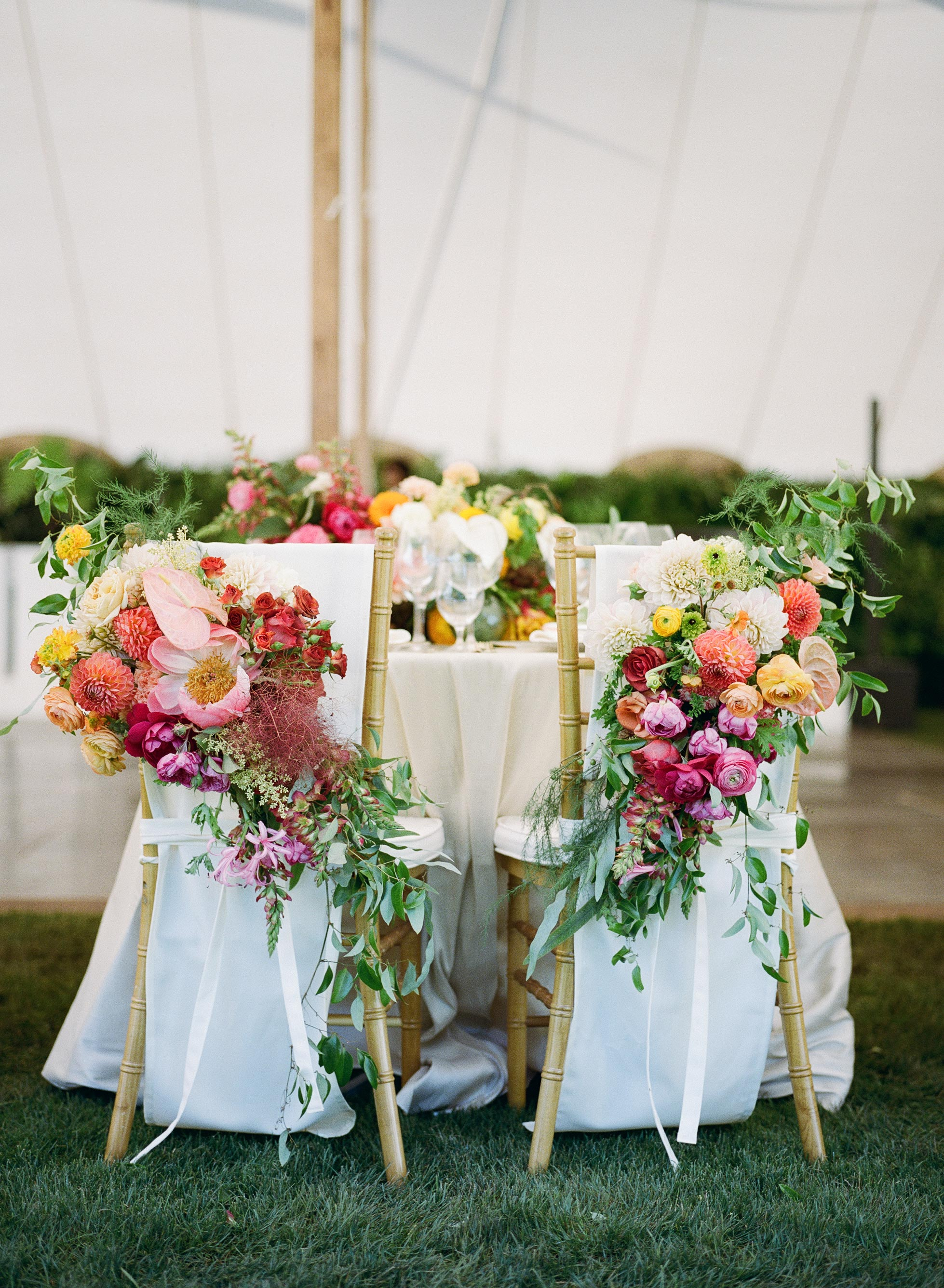chairs with flowers table