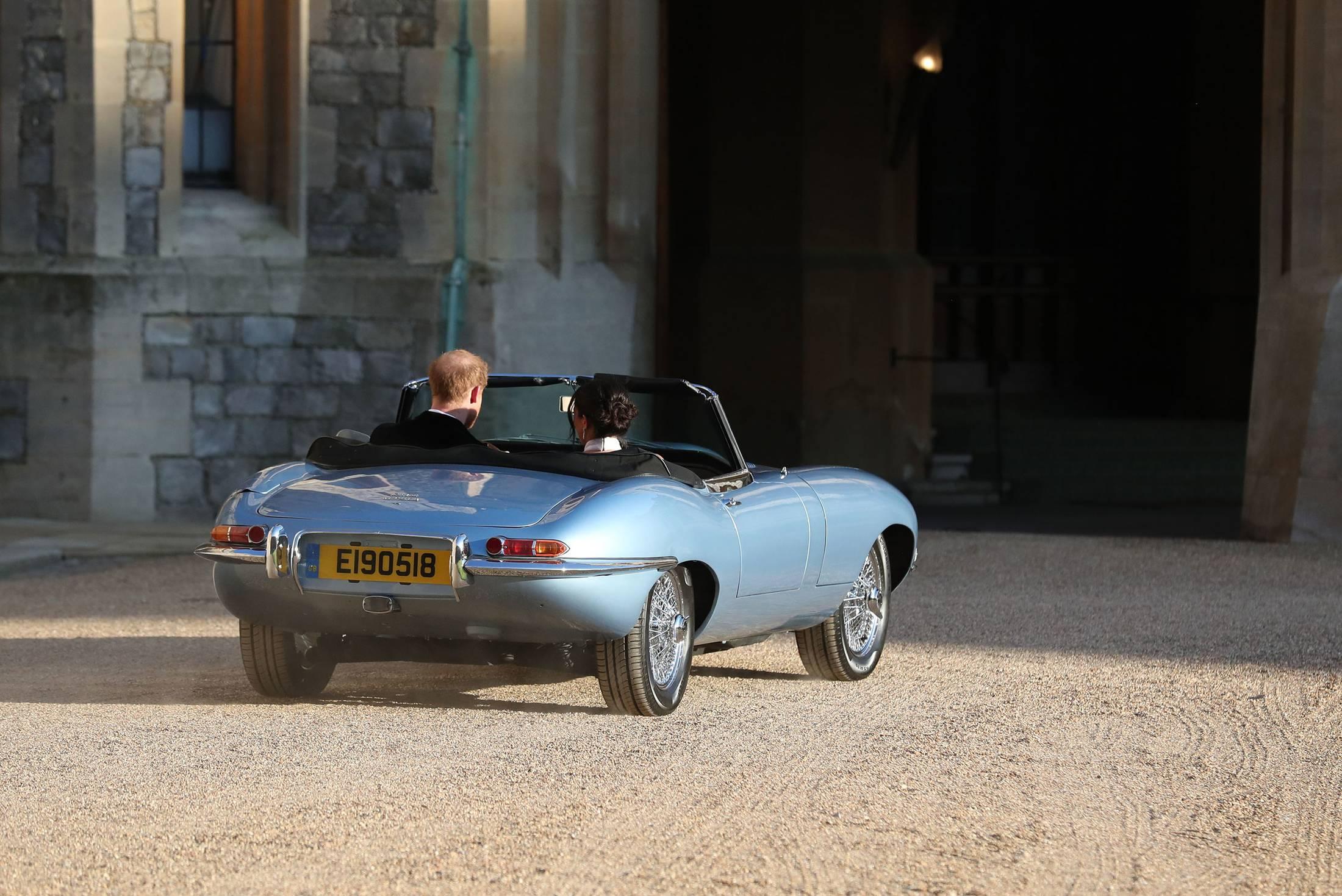 prince harry meghan markle jaguar wedding exit car