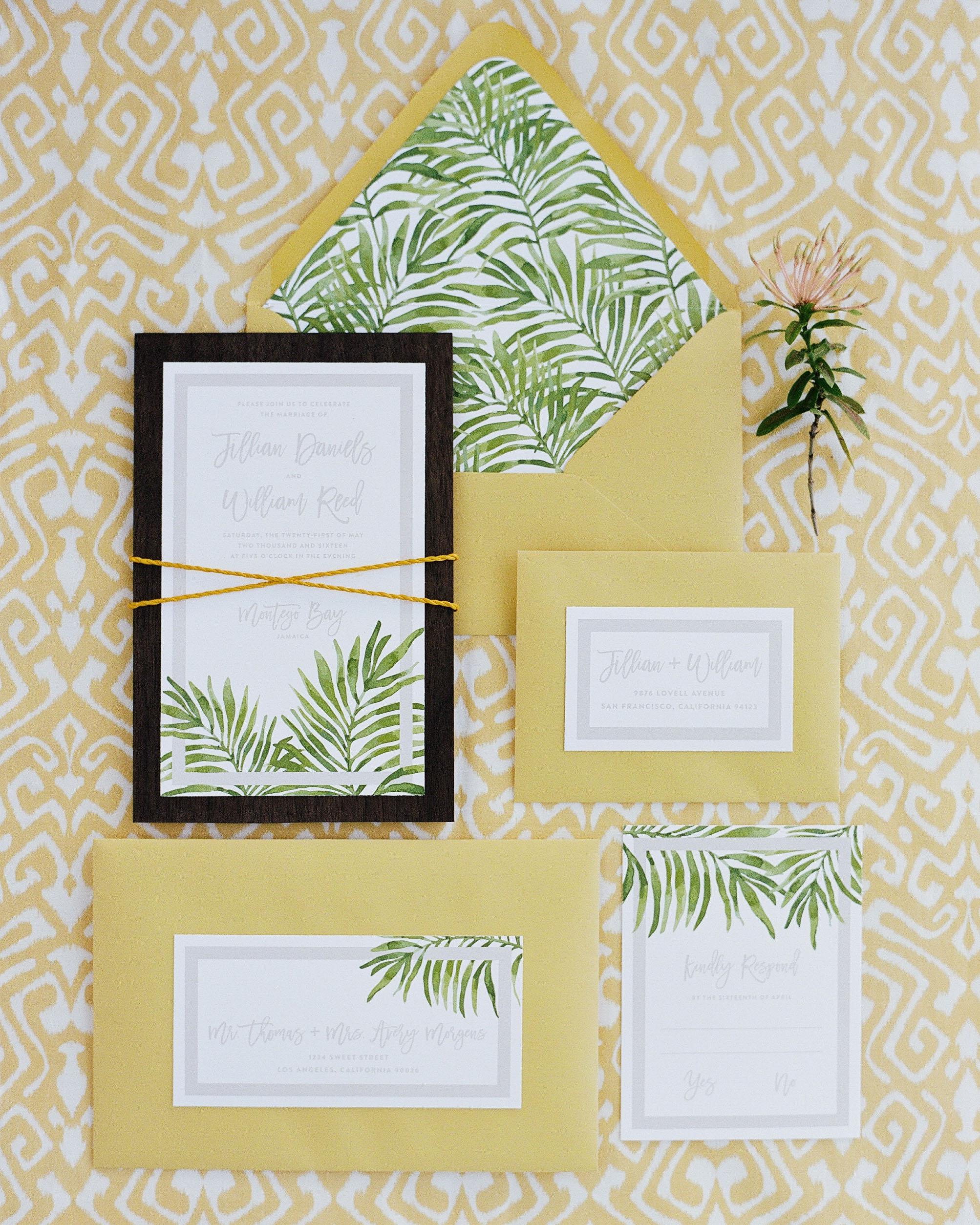 beach wedding invitations palms on paper