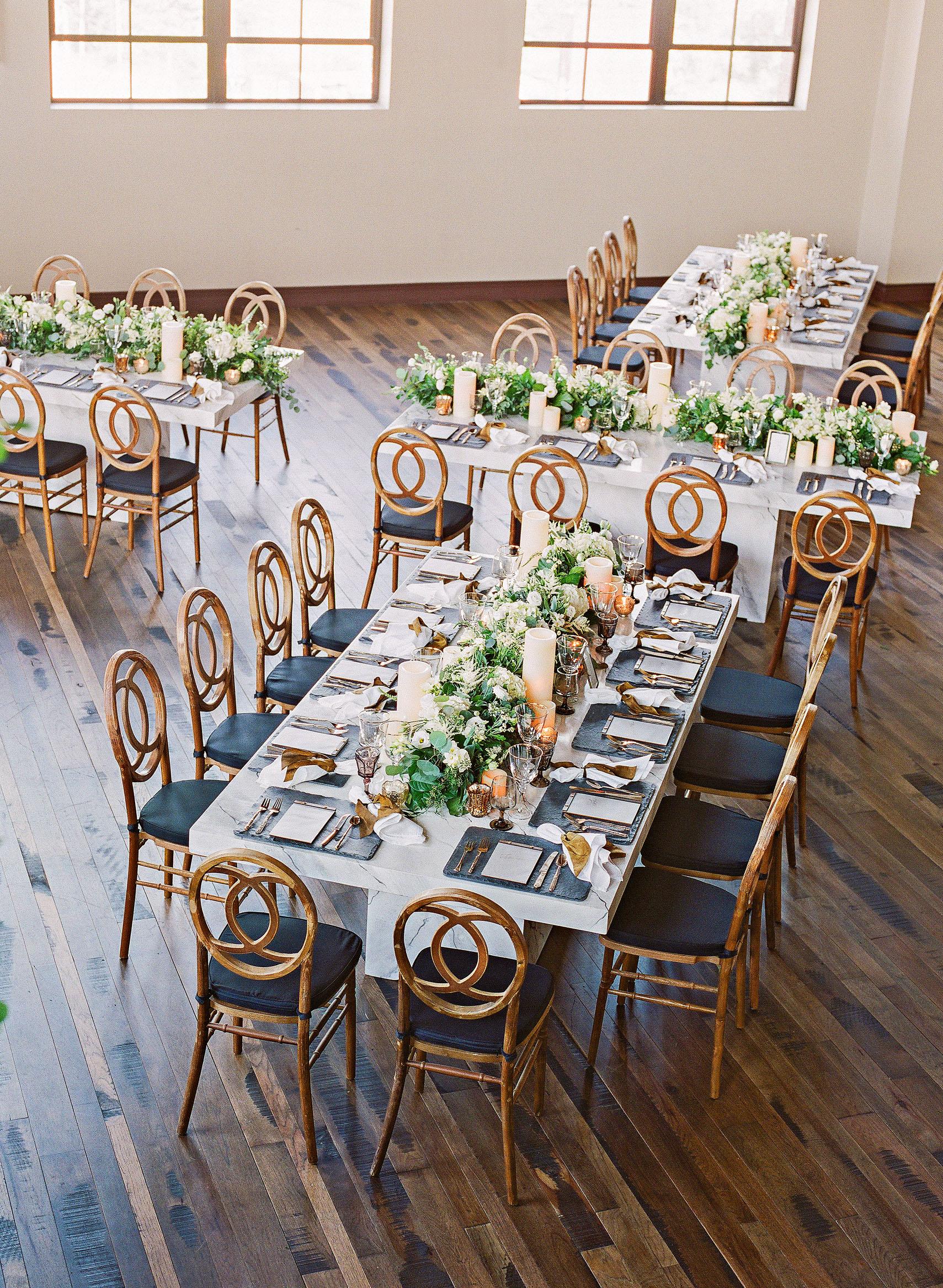 wedding reception tables indoor