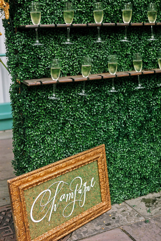 kate austin wedding champagne wall