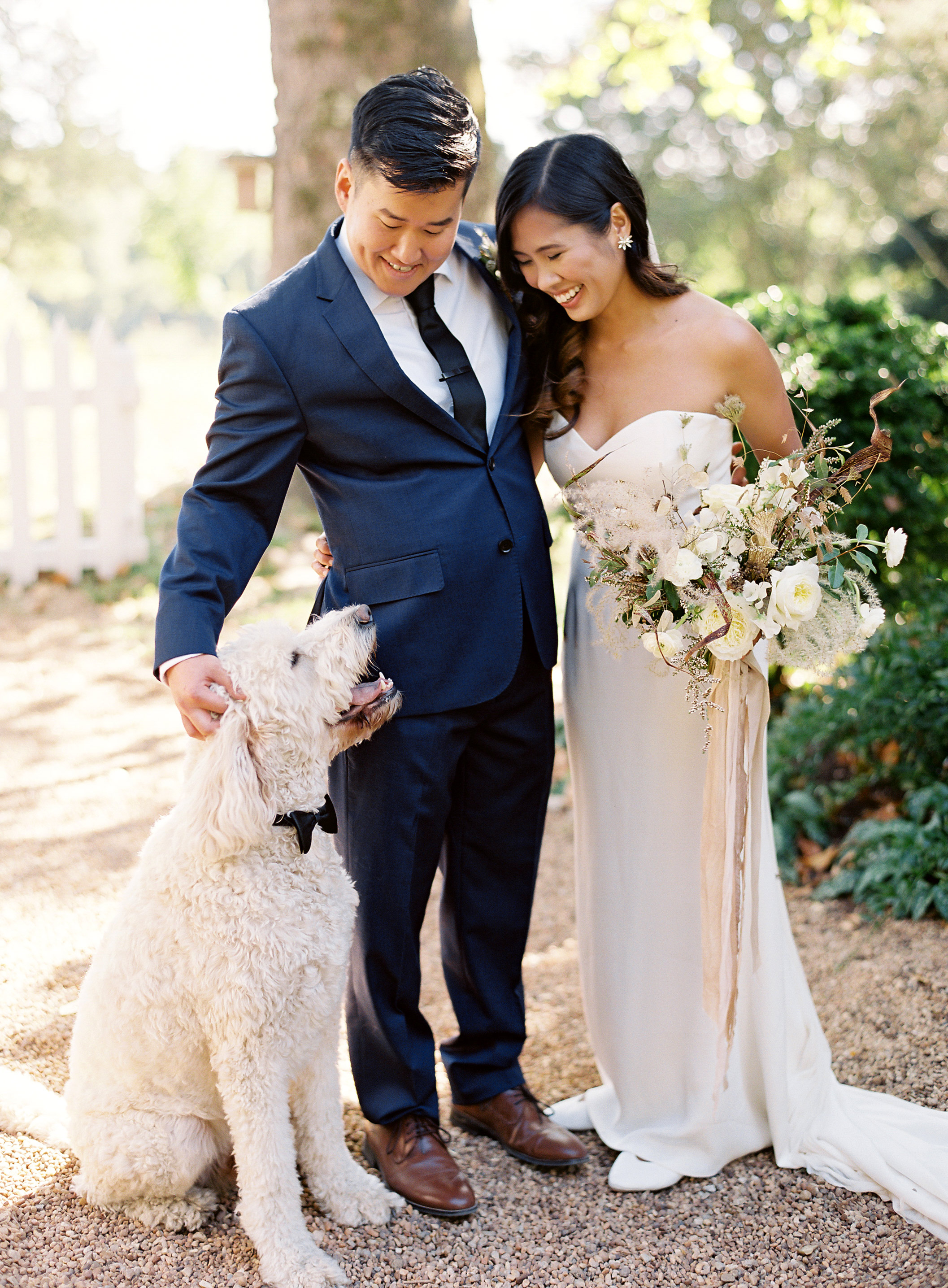 linda robert wedding couple dog smile