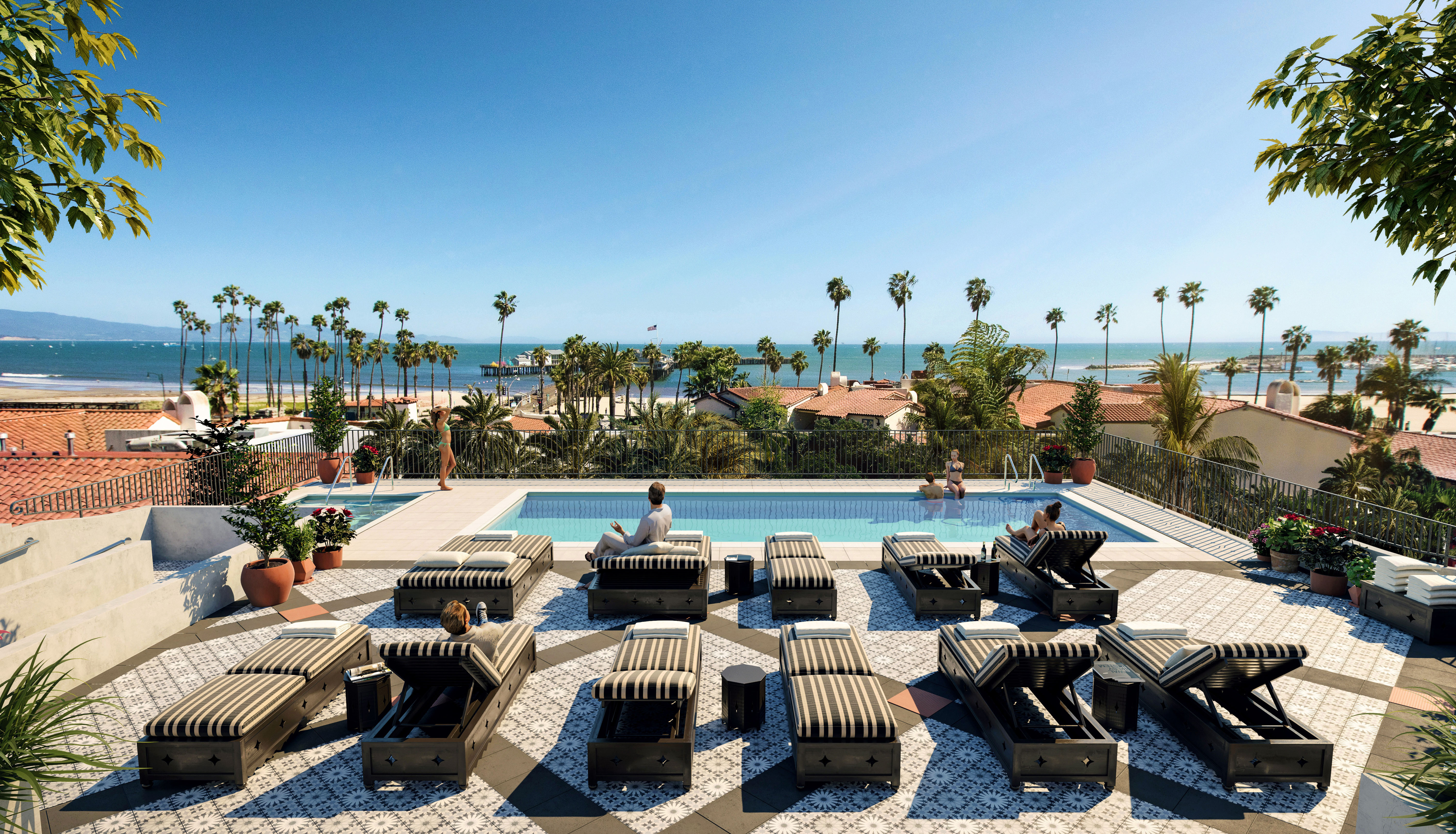 city meets beach hotel californian pool seating