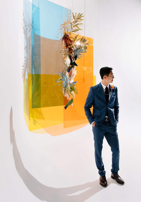 tashina huy colorful wedding groom