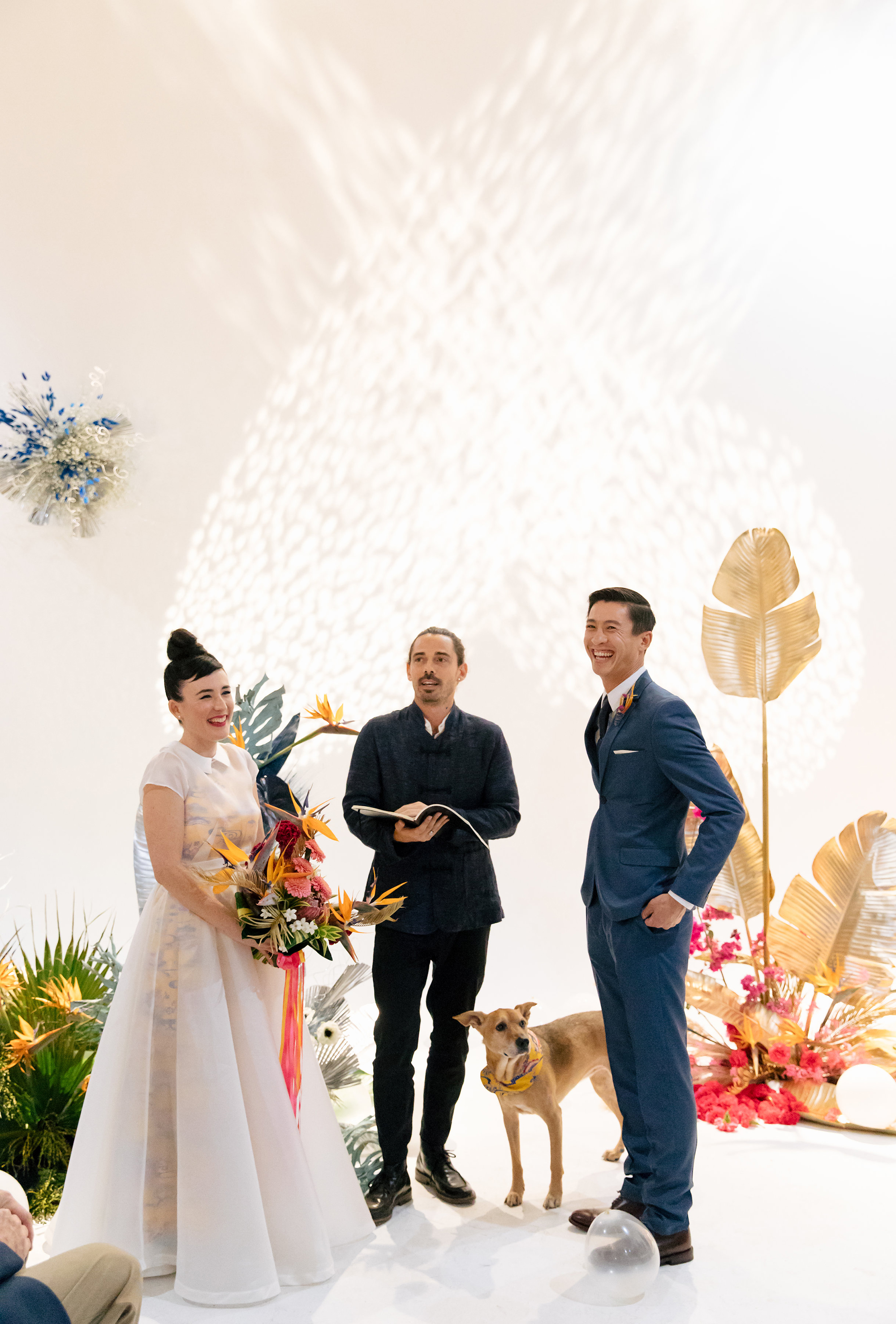 tashina huy colorful wedding ceremony dog