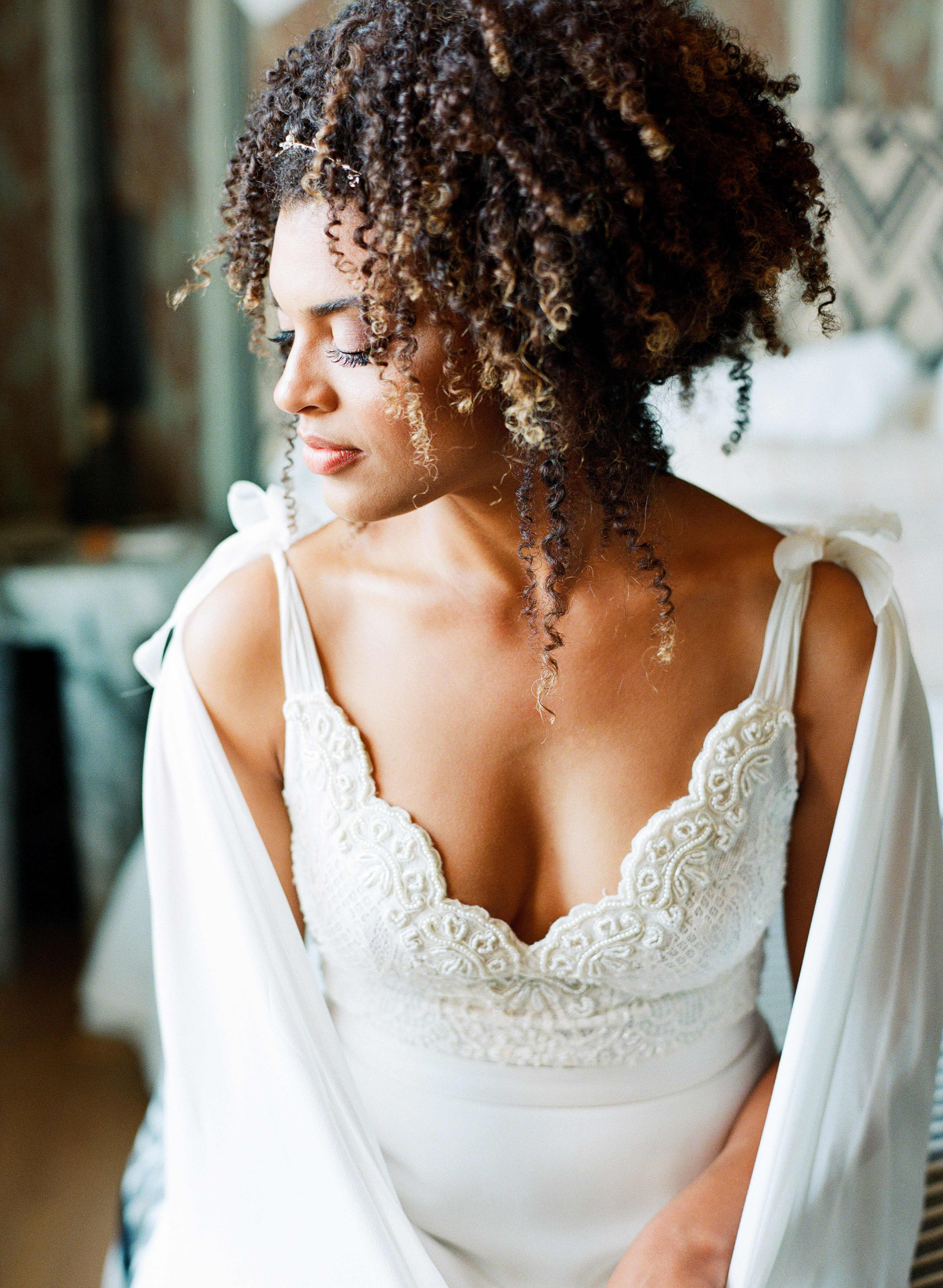 natalie louis wedding bride cape smile