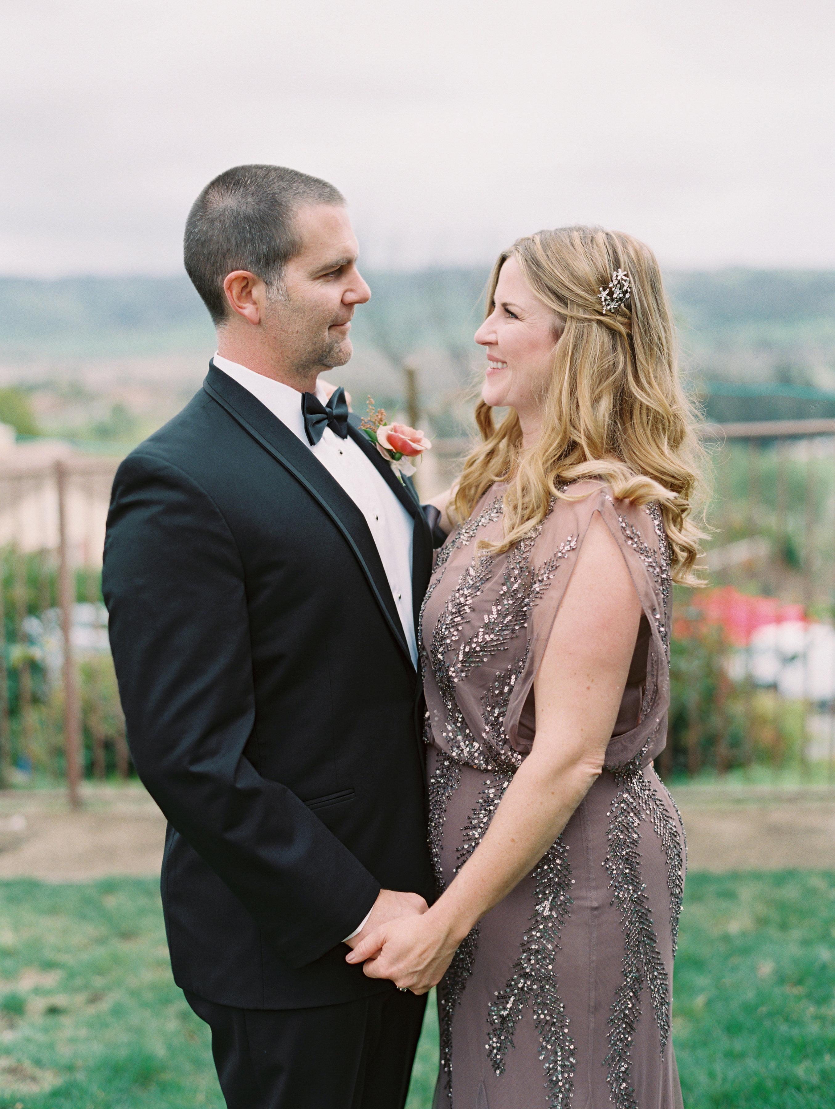 surprise wedding couple gazing into eyes