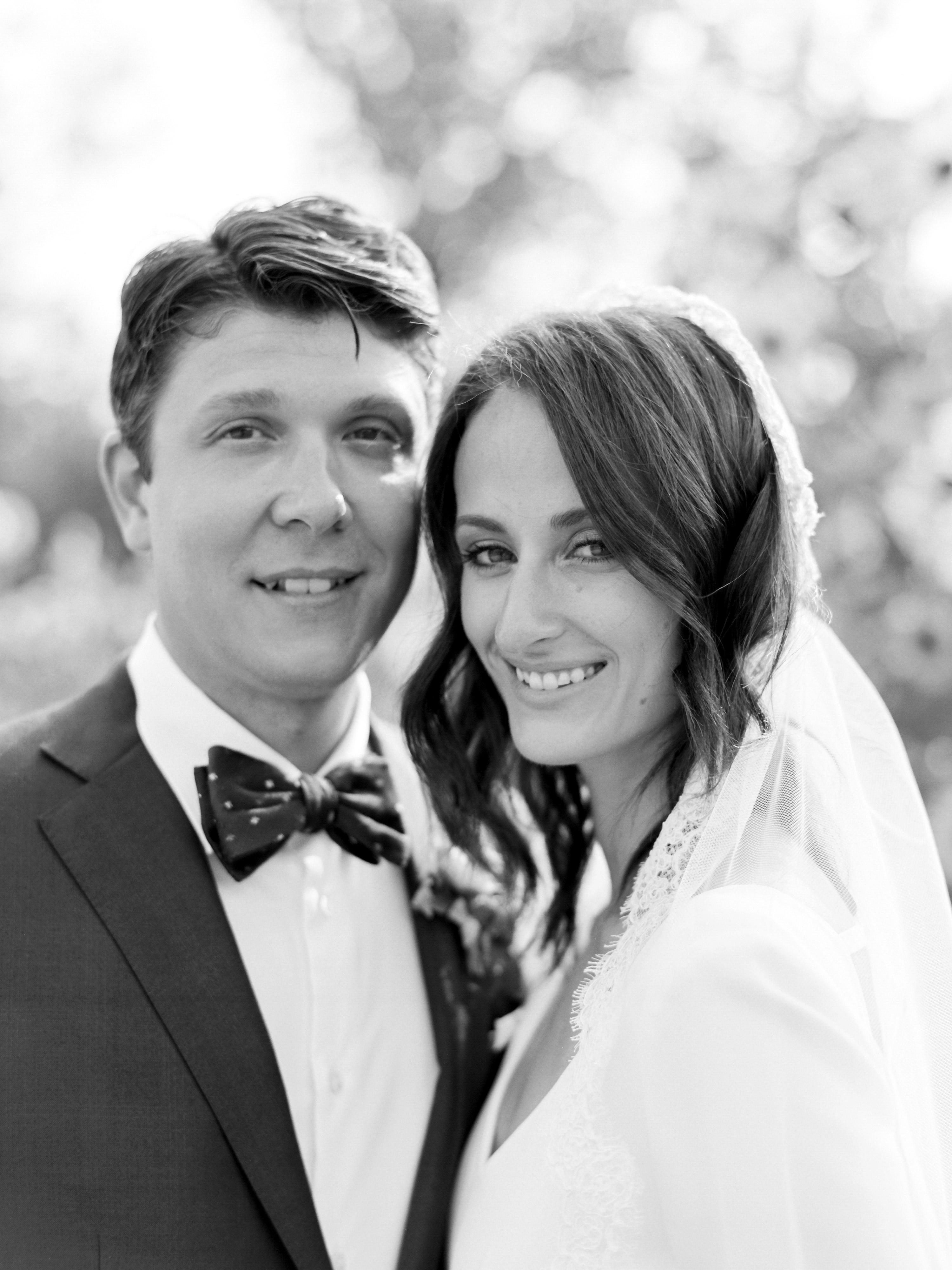 kayla michael wedding couple smile embrace