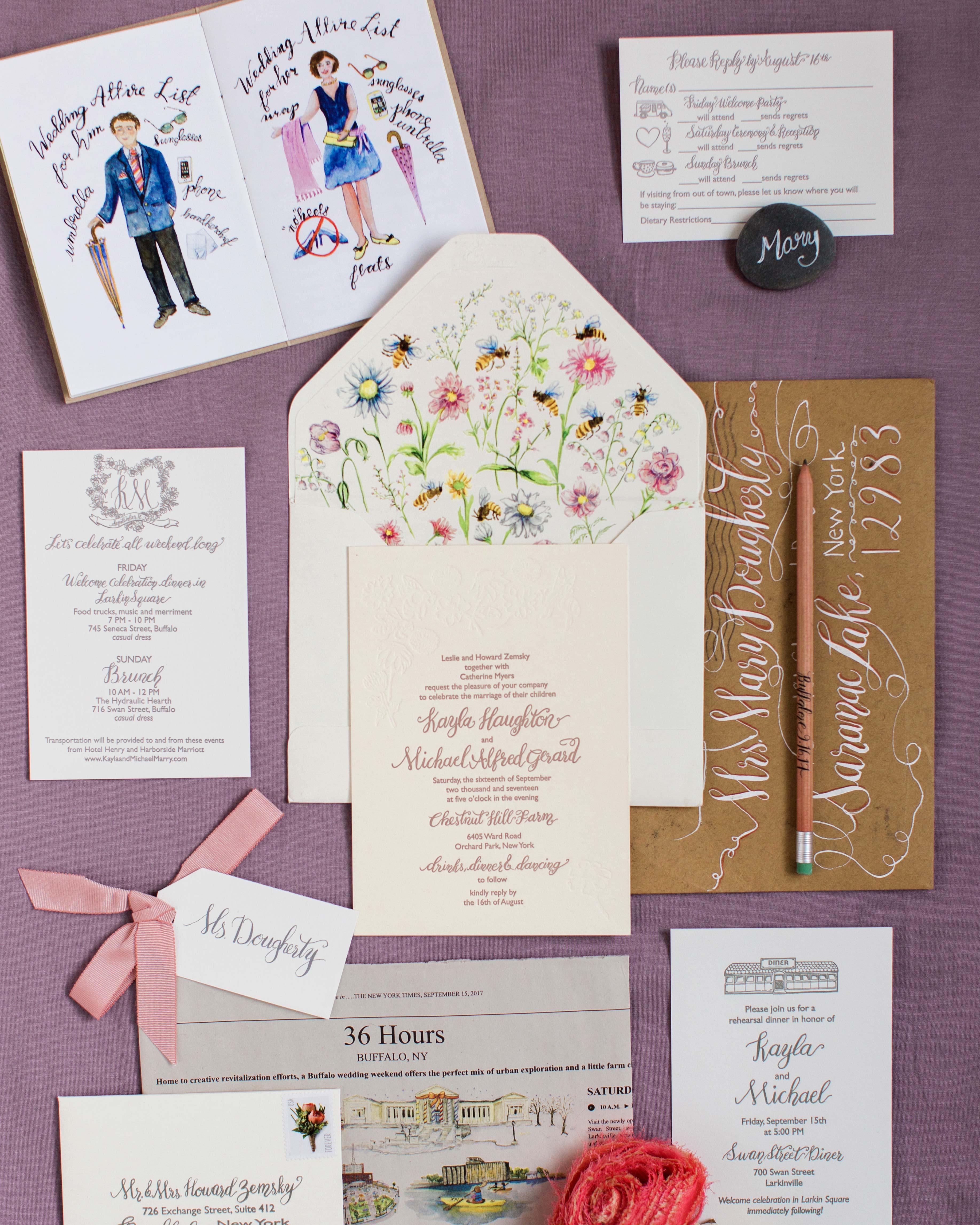 kayla michael wedding invitation