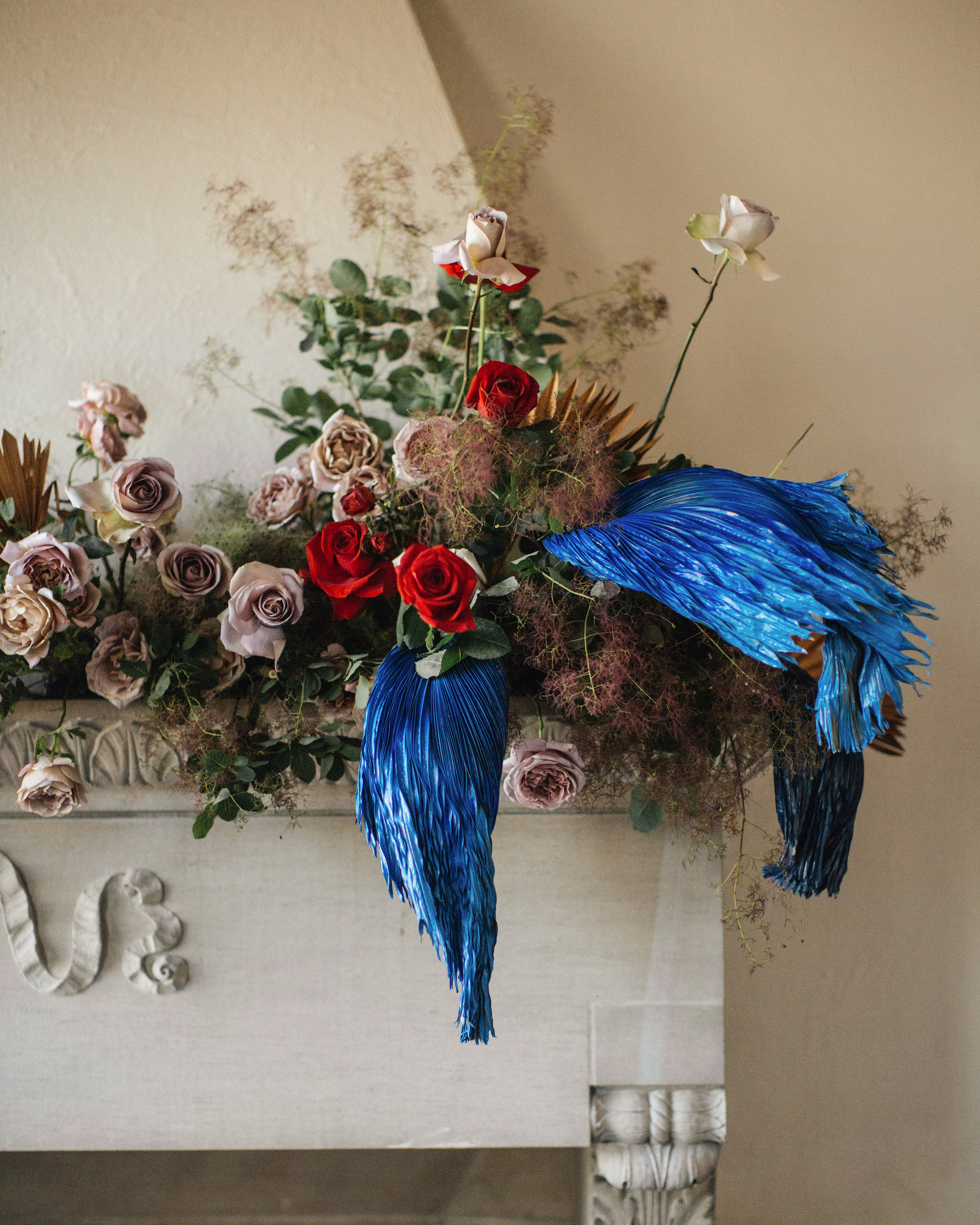 madison kyle wedding mantel flowers