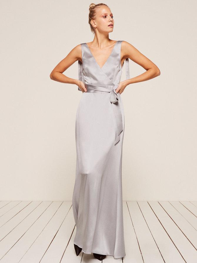 grey silver bridesmaid dresses reformation siena
