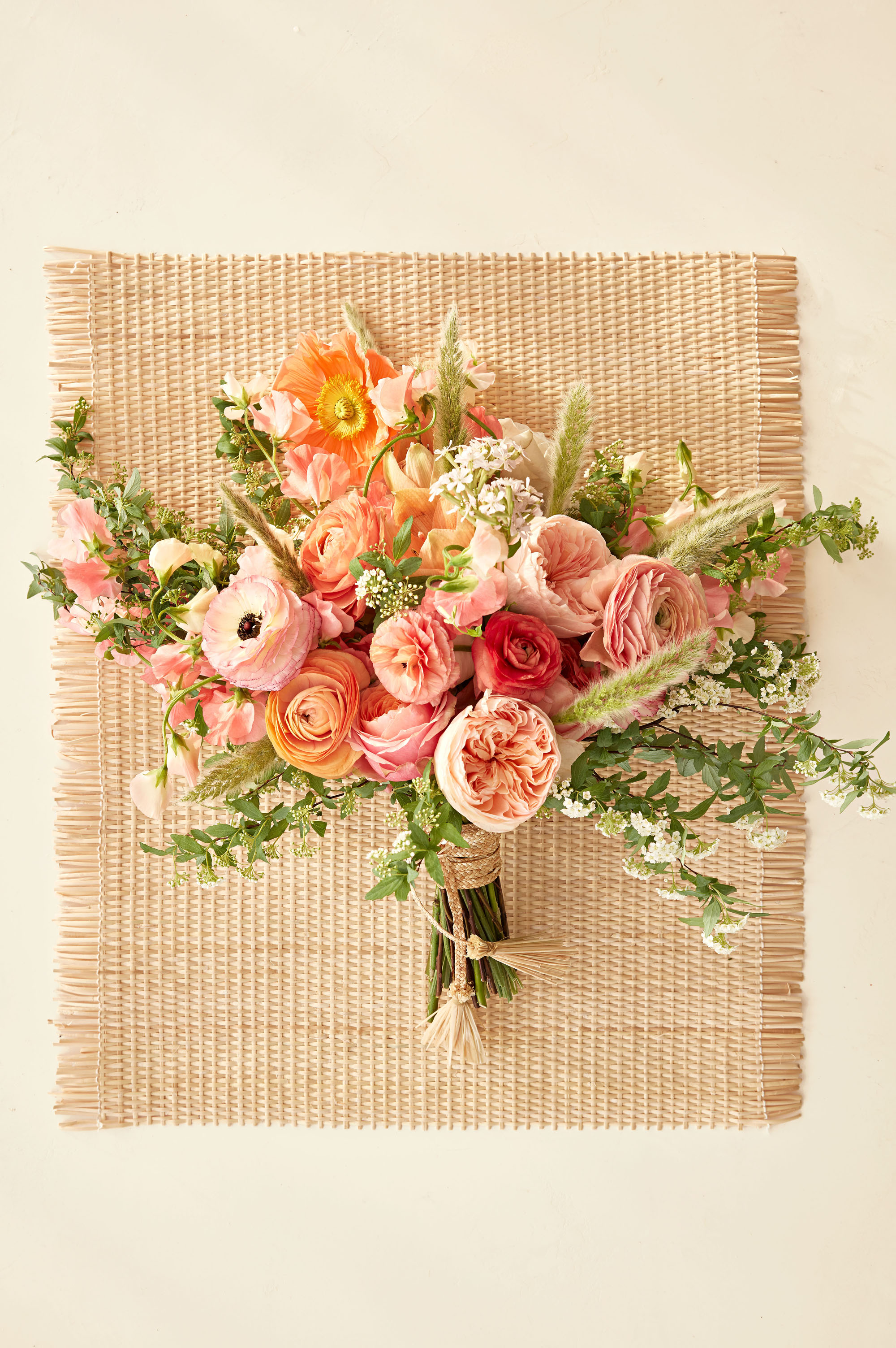 bouquet on raffia mat woven