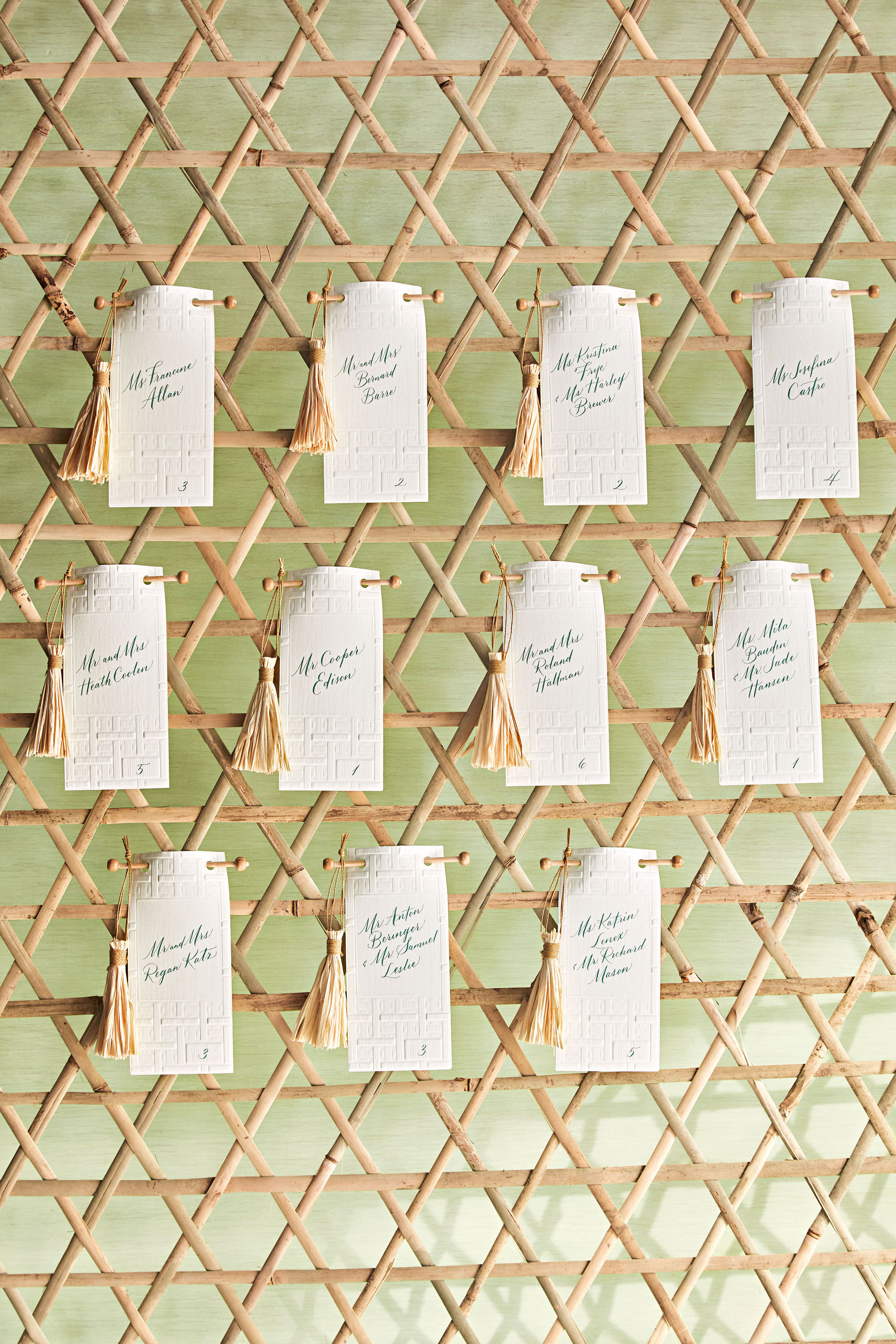 woven bulletin board escort cards