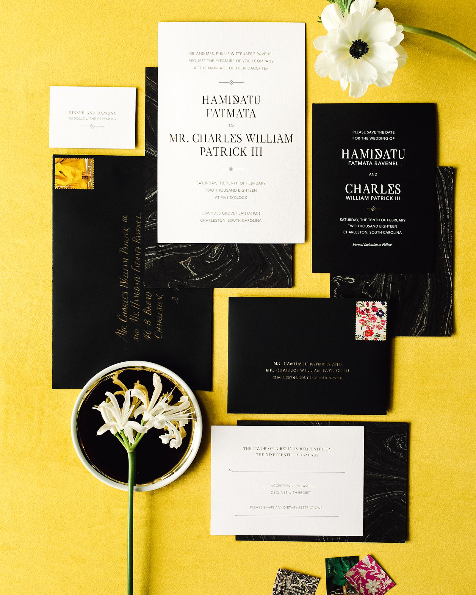 hamida charlie charleson wedding invitation marble