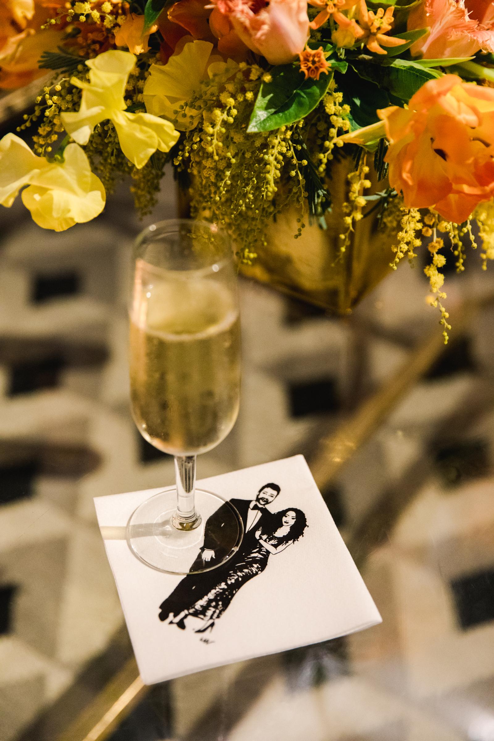 hamida charlie charleson wedding napkin drawing