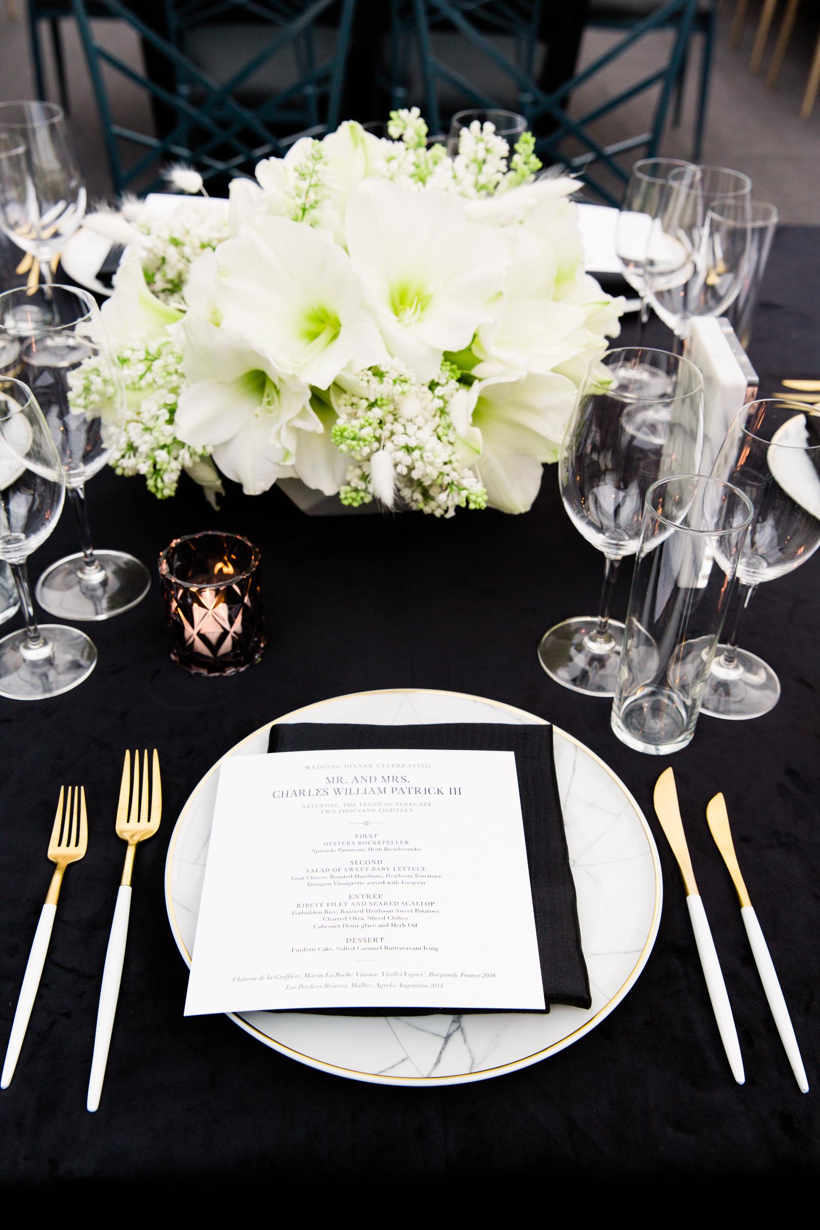 hamida charlie charleson wedding place setting black and white