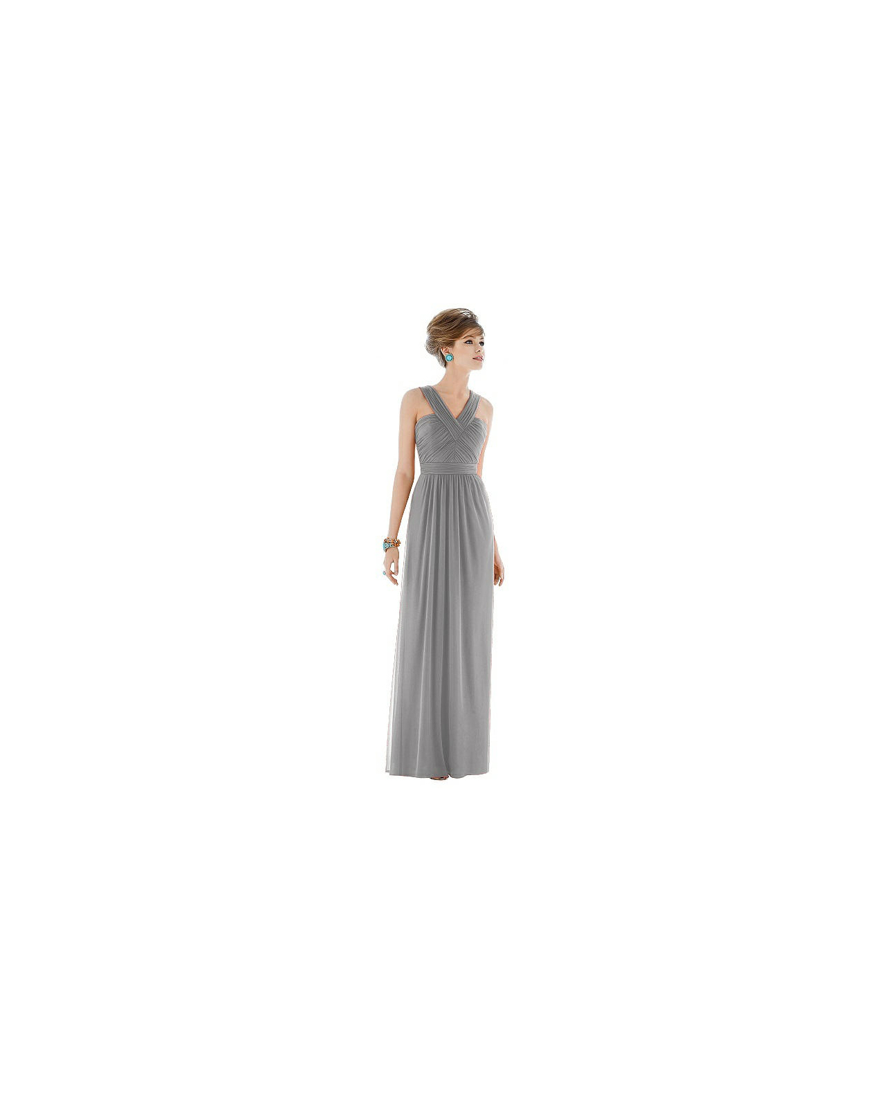 grey silver bridesmaid dresses alfred sung d678