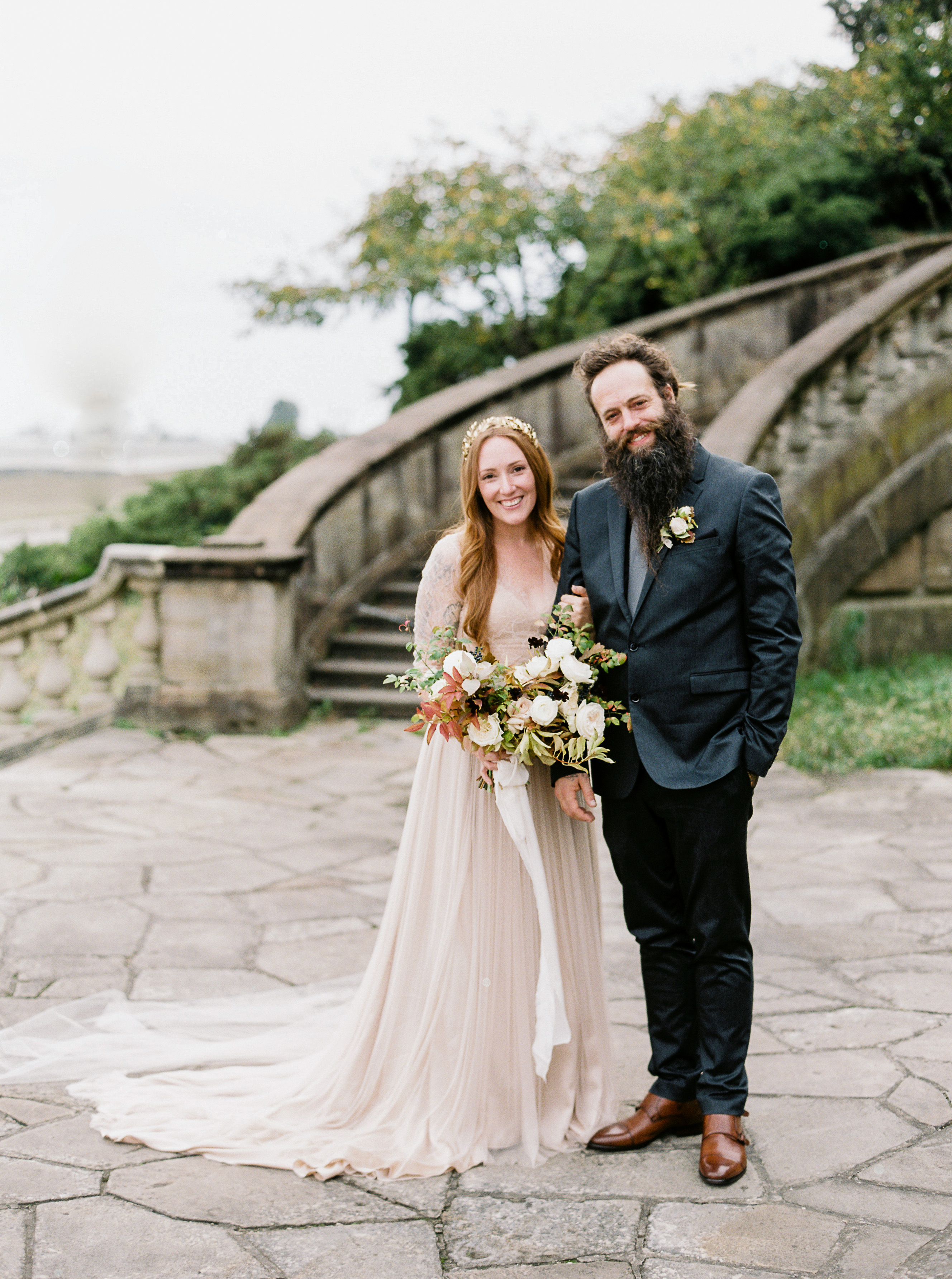 katie matthew ohio wedding couple stairway