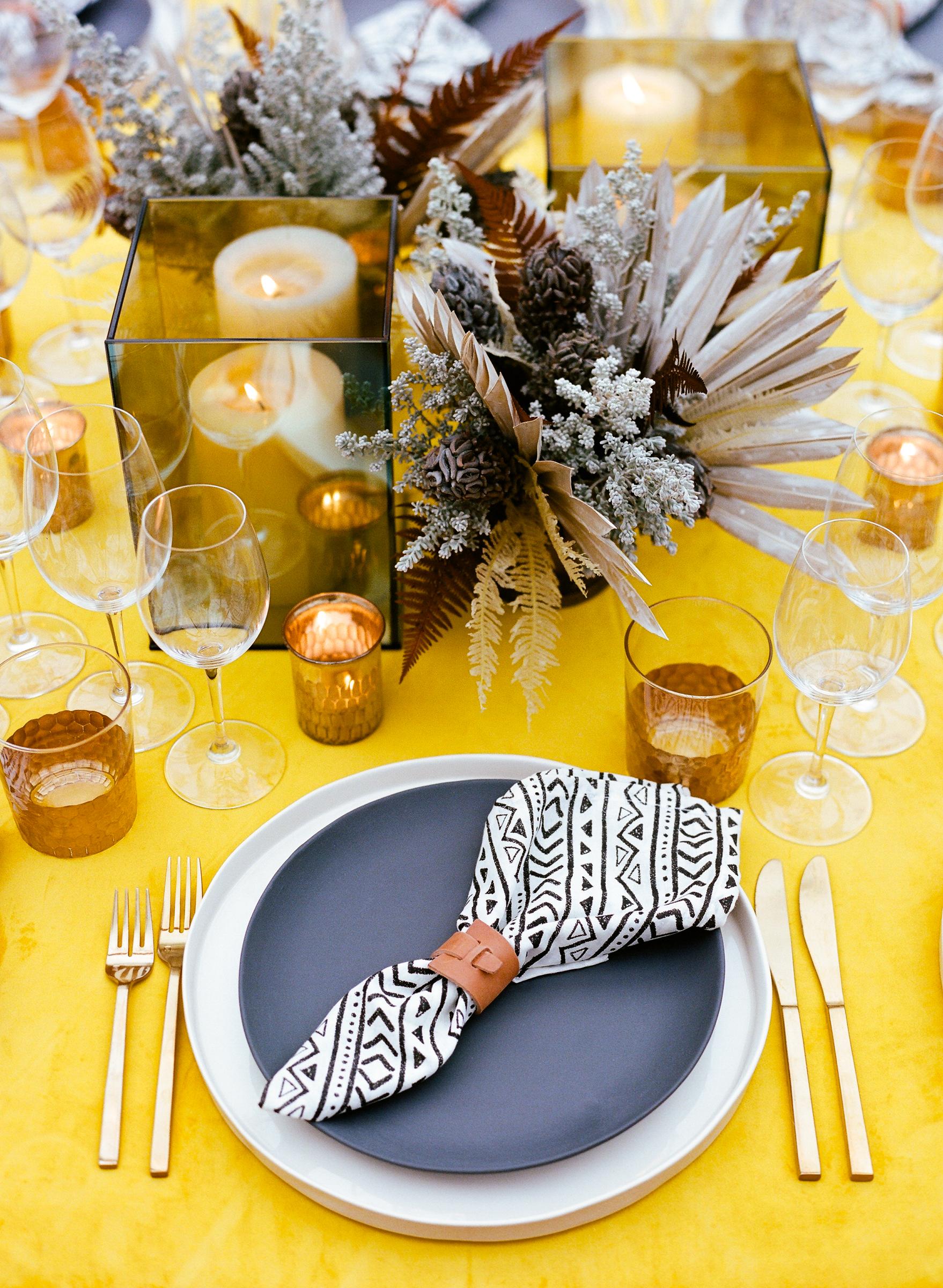 hamida charlie charleson wedding welcome party centerpiece dried