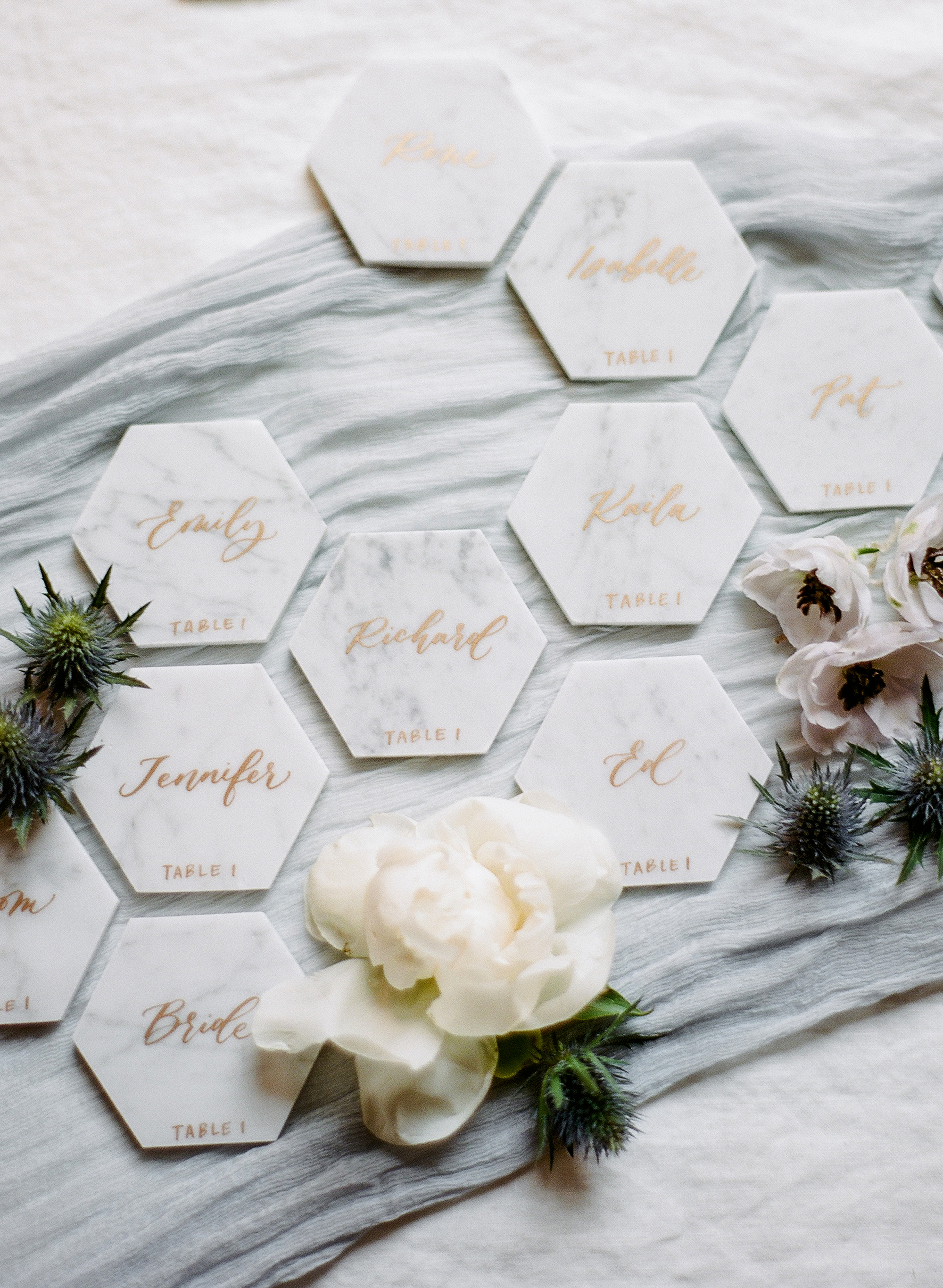 michelle robert wedding tiles escort cards