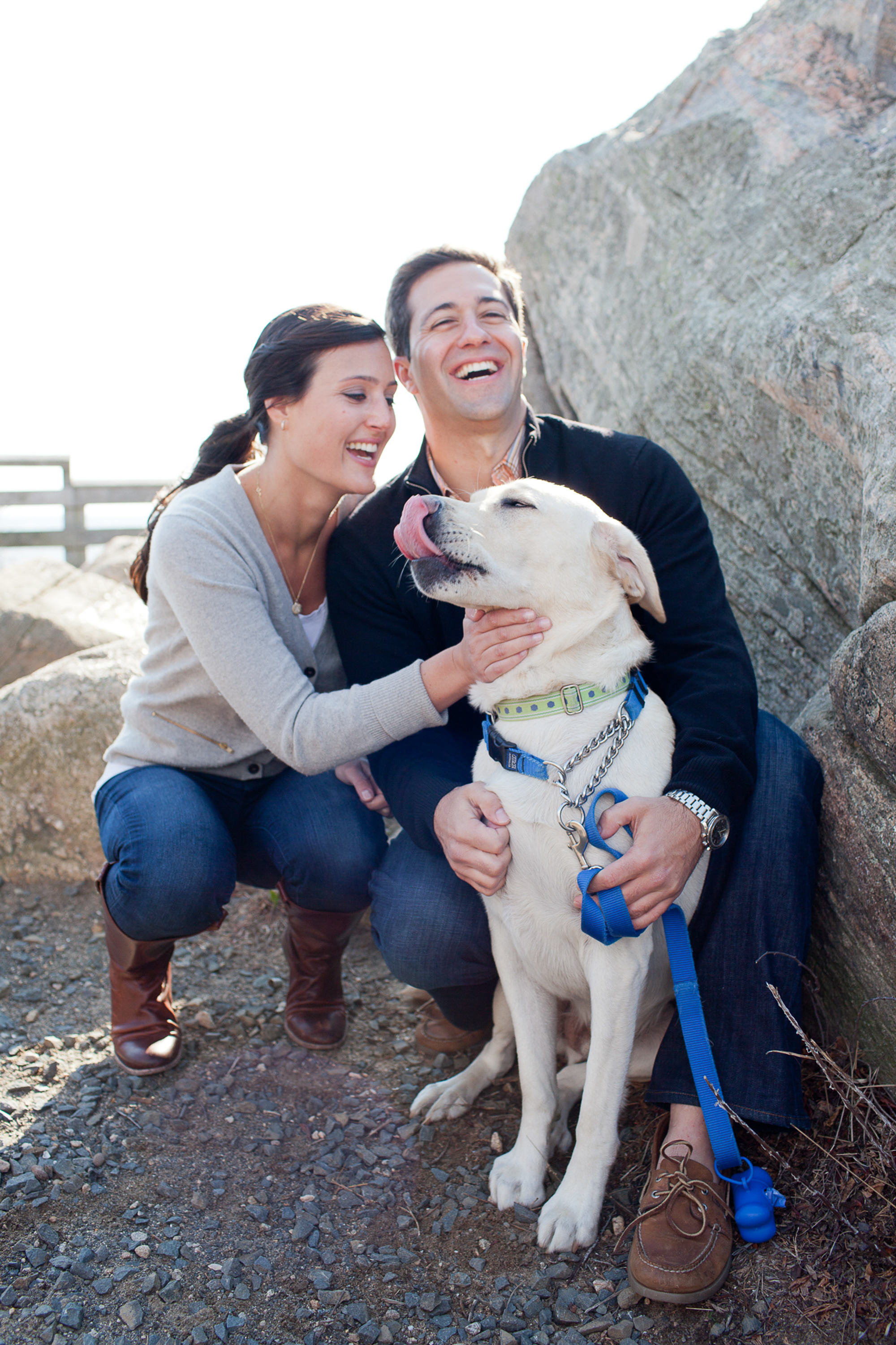 couple with dog outdoor engagement photos