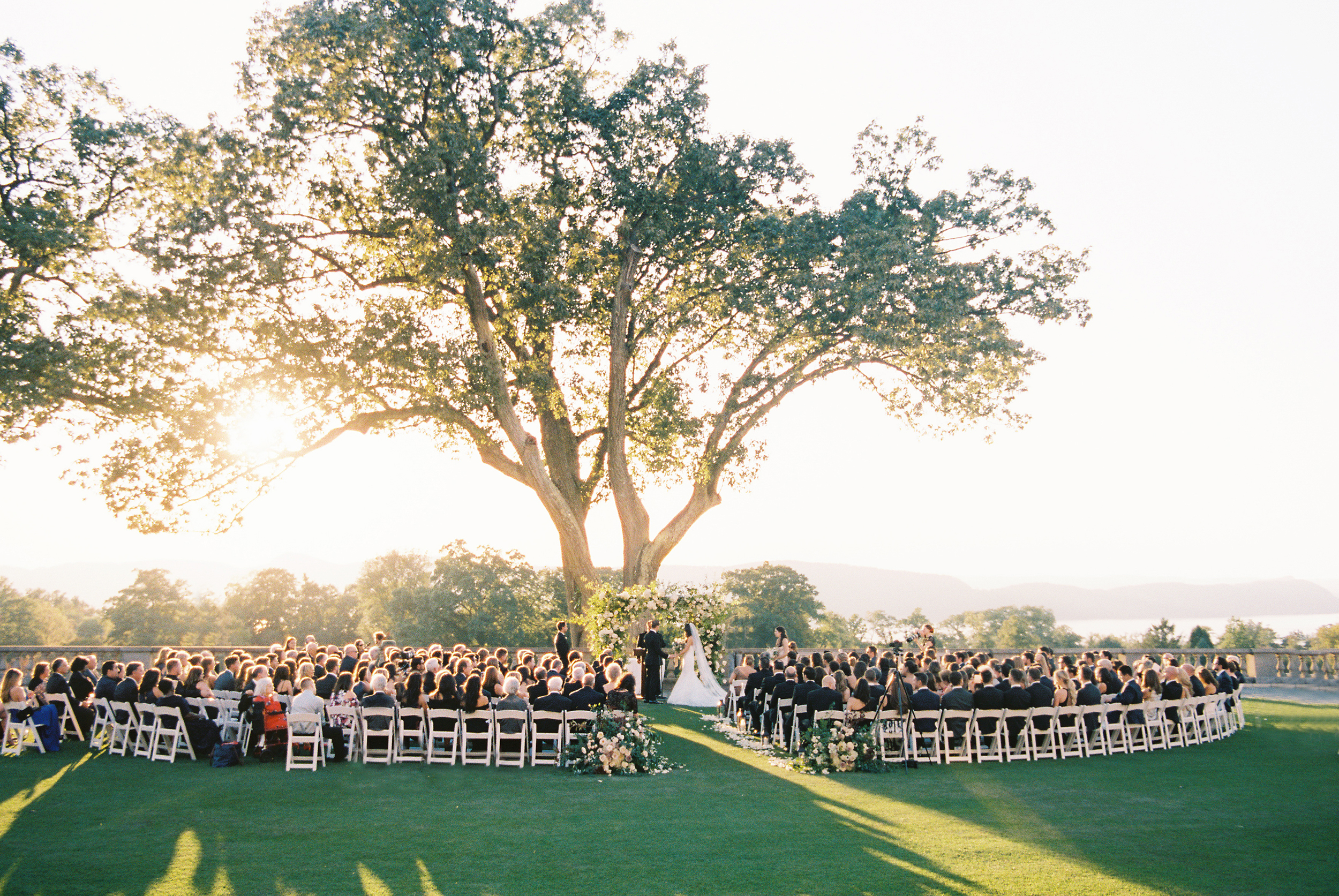 Outdoor Ceremony Setting with Sunset