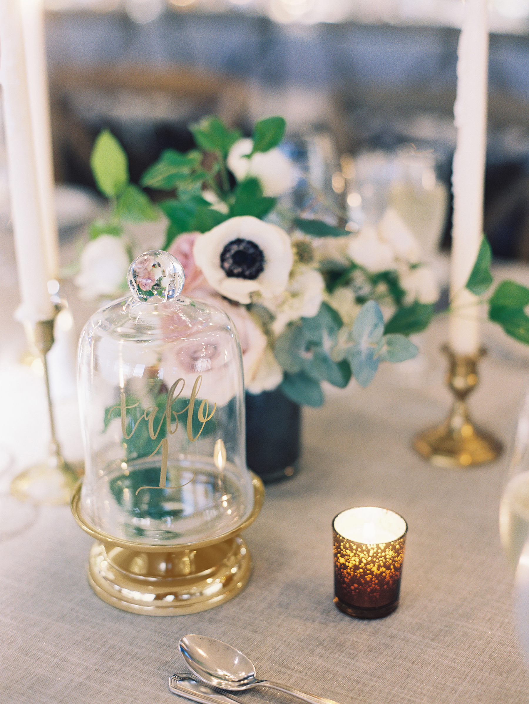 jessica brian wedding table number cloche