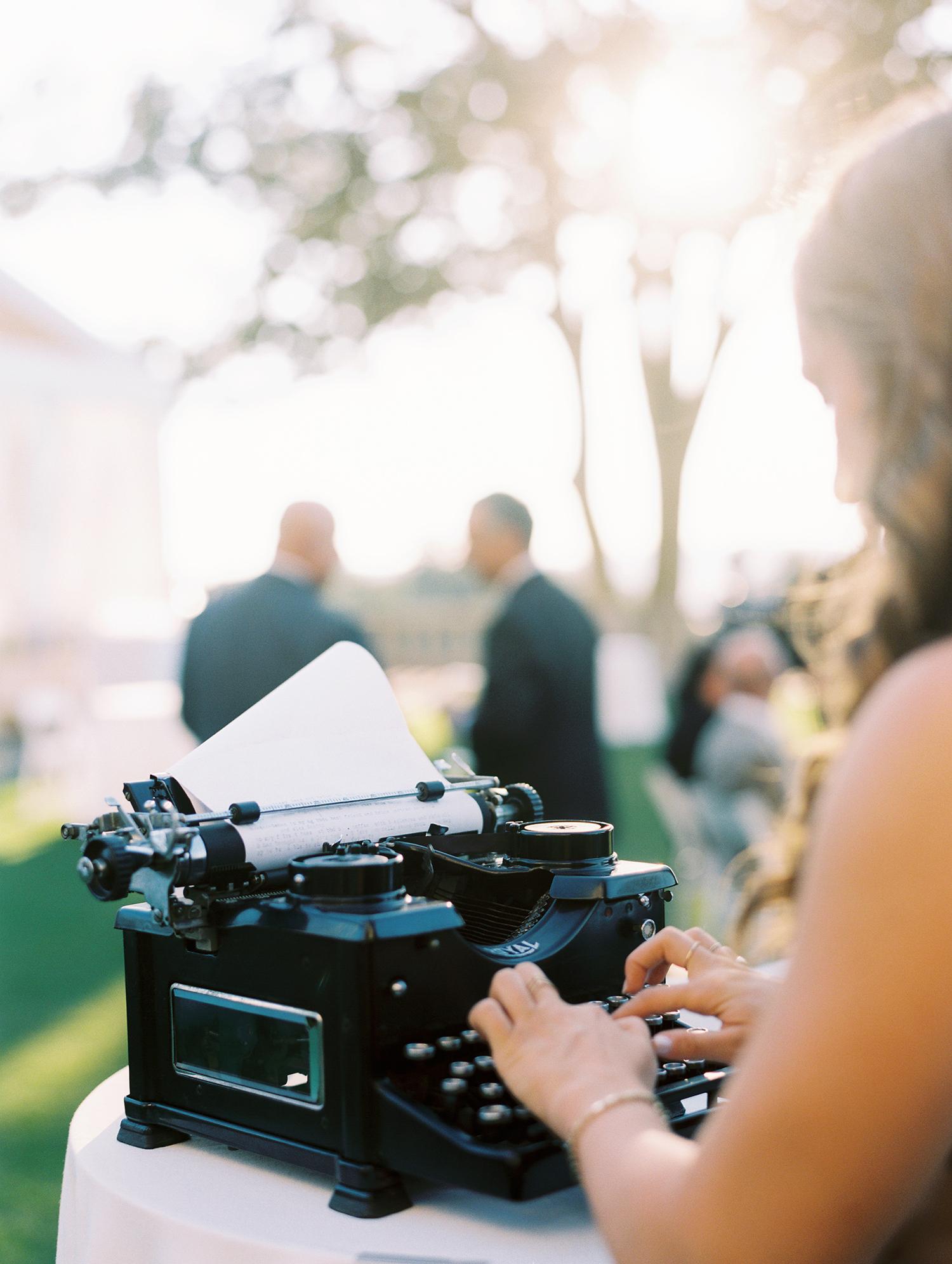 jessica brian wedding typewriter