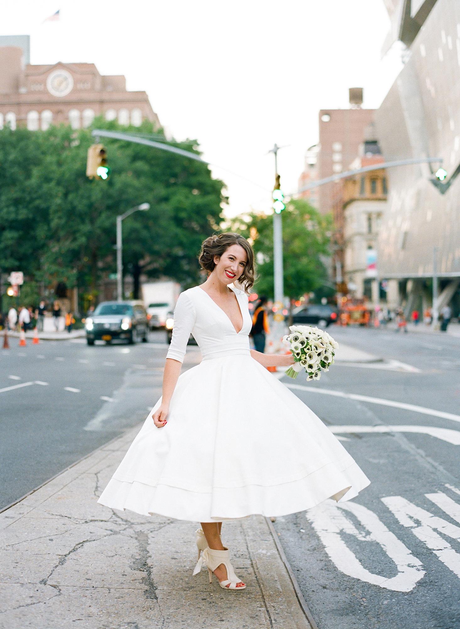 tea length wedding dress with petite bouquet