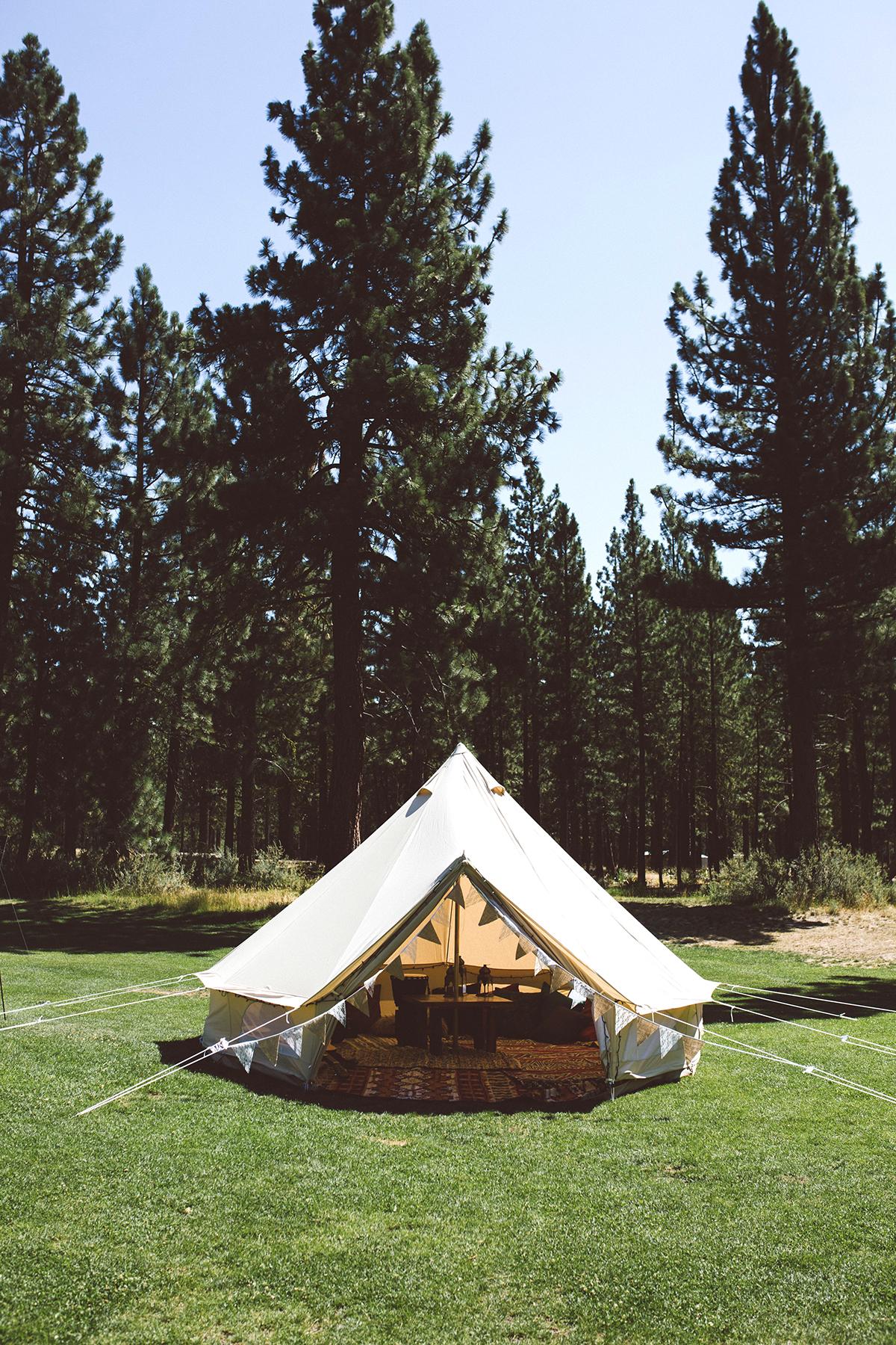 backyard diy circle tent with decorations