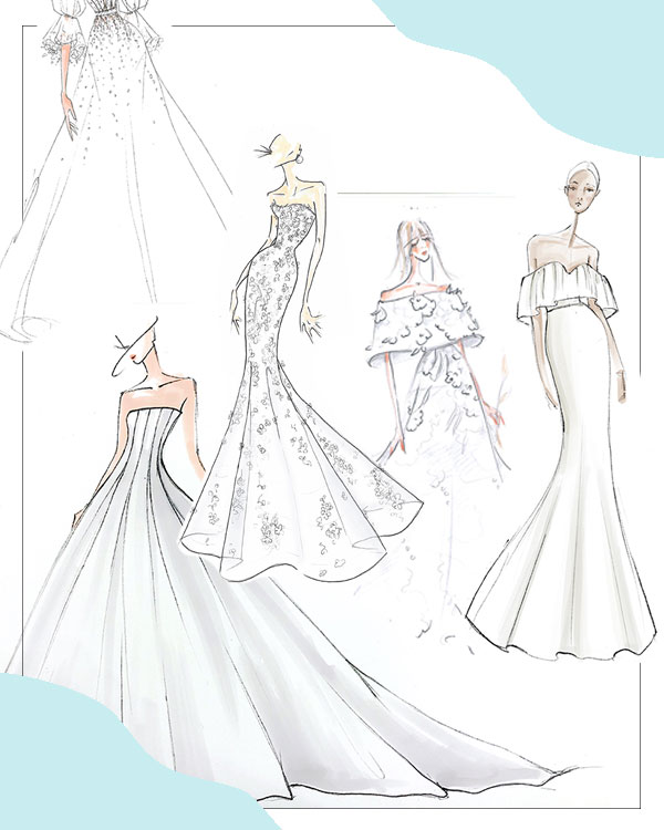 Bridal Fashion Week Fall 2019 Preview Sketches