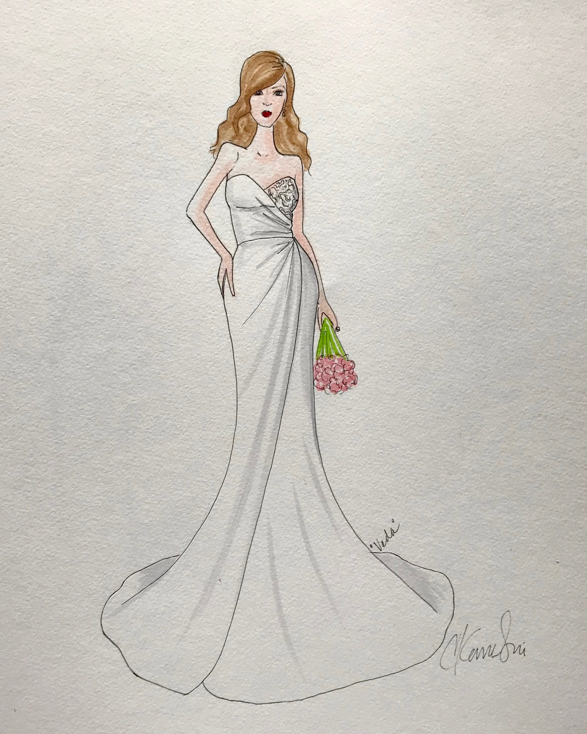 bridal fashion week sketches fall 2019 catherine kowalski